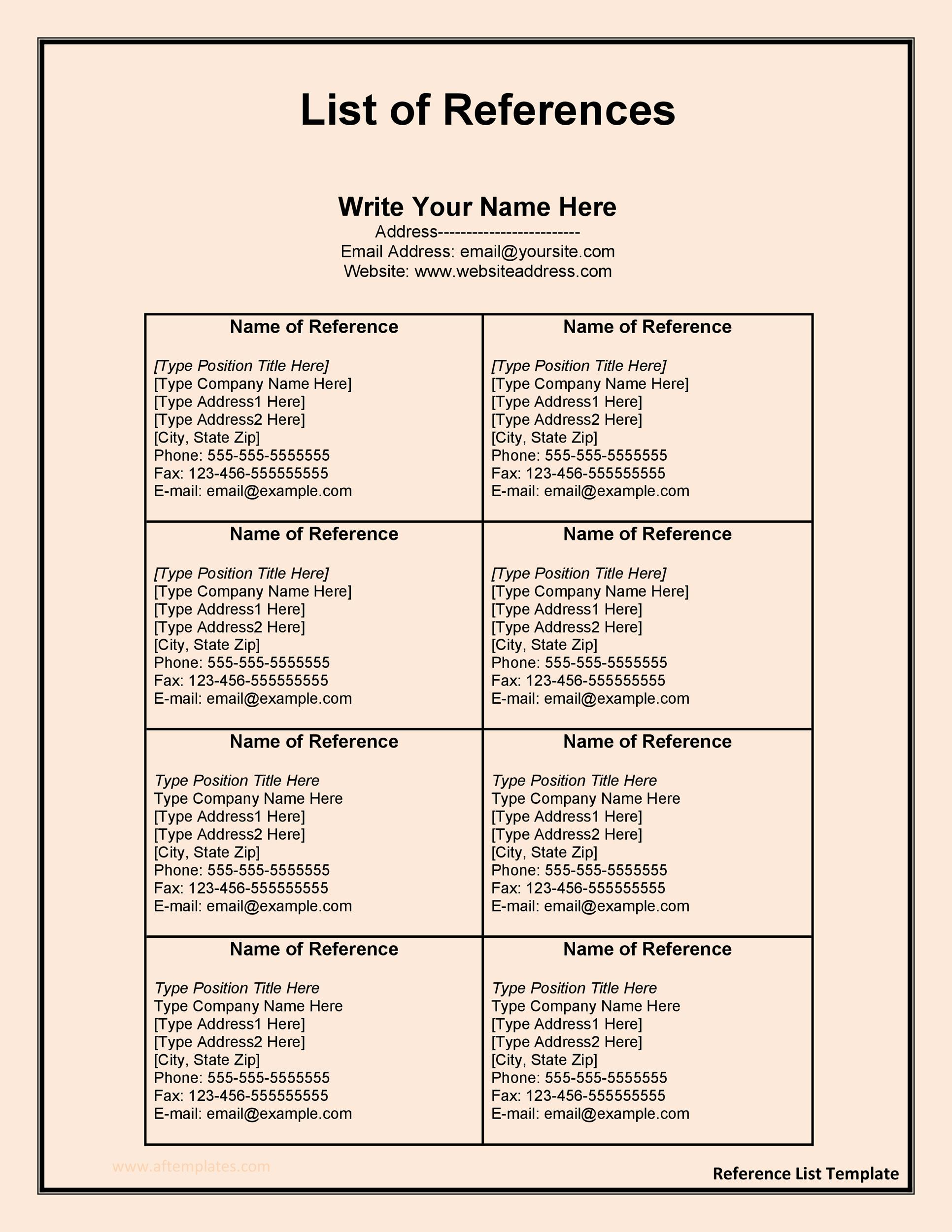 Free reference page template 12