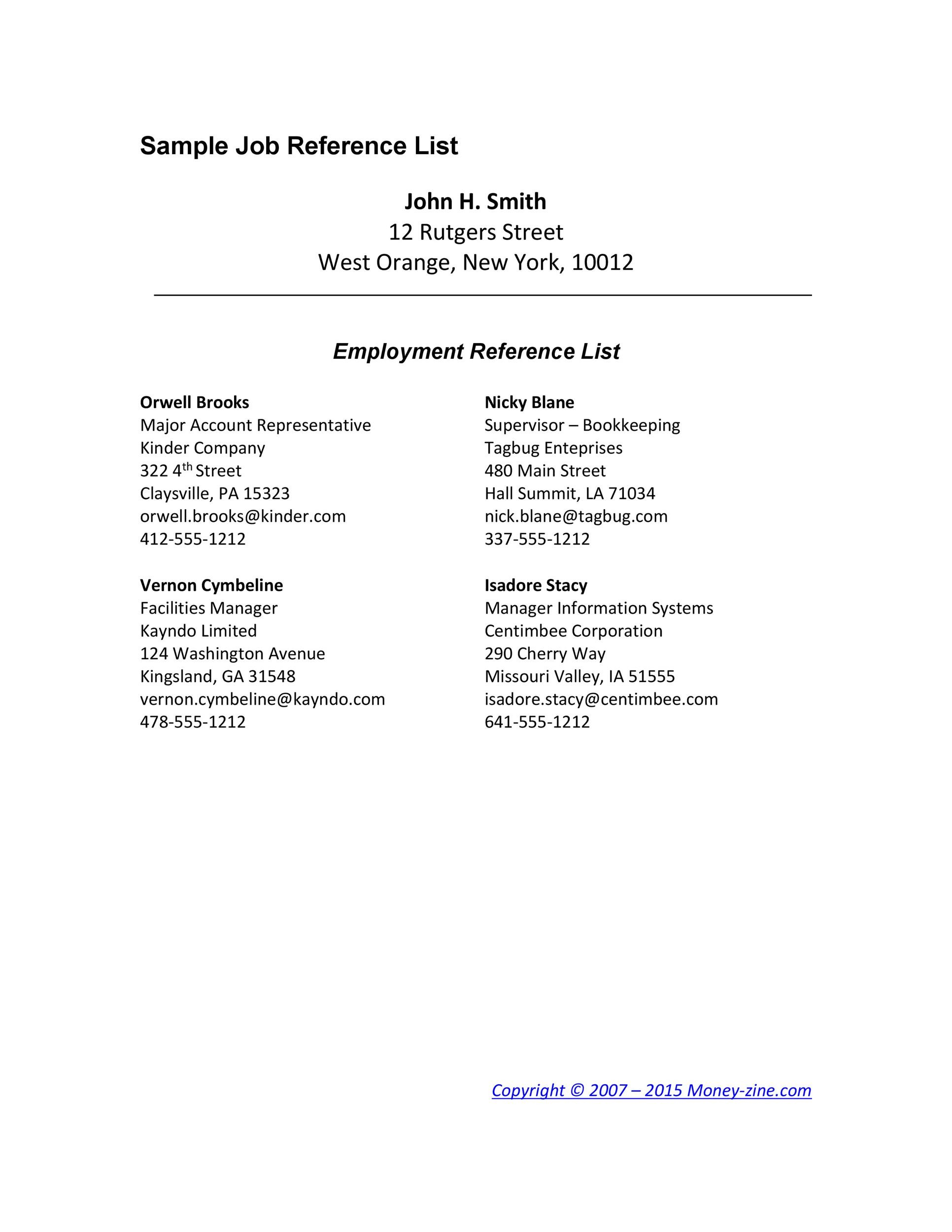 Professional References List Template Zrom