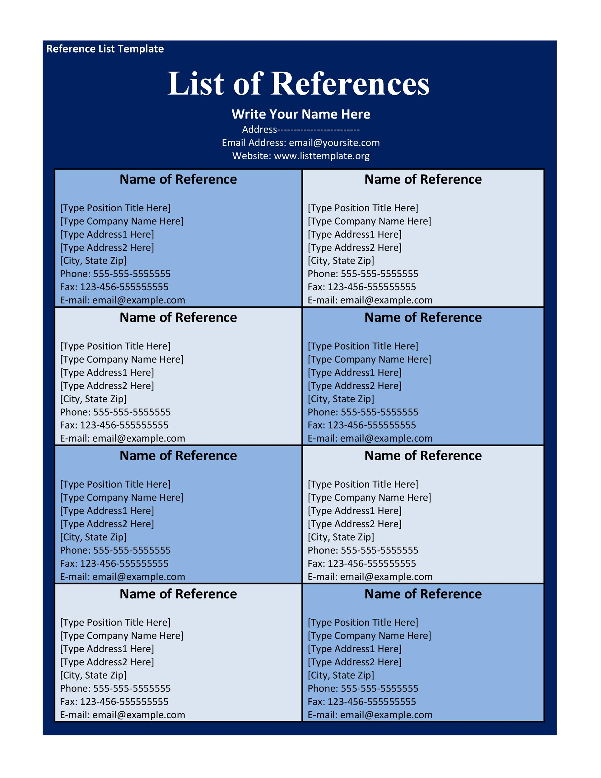 Free reference page template 29