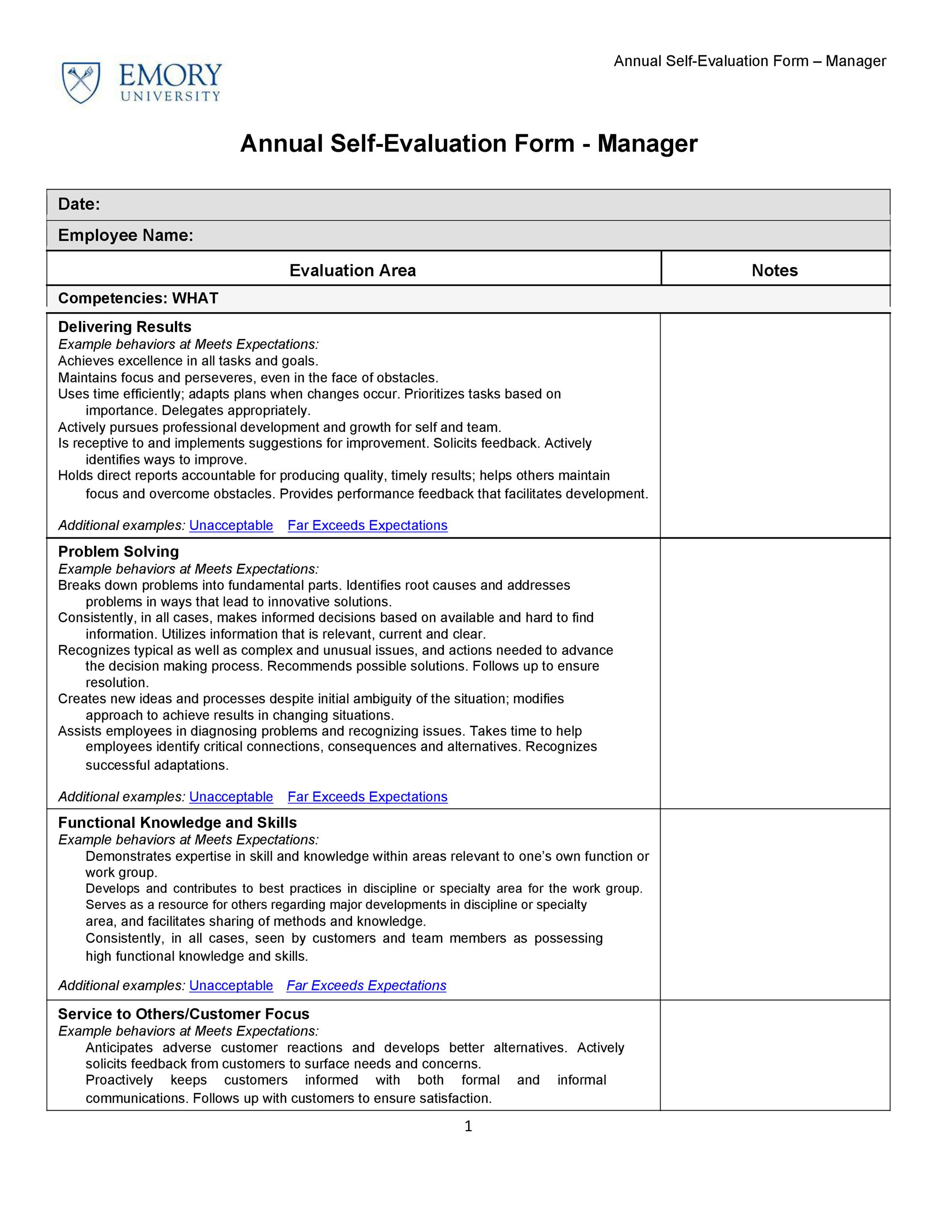 50 self evaluation examples forms questions template lab for Risk control self assessment template