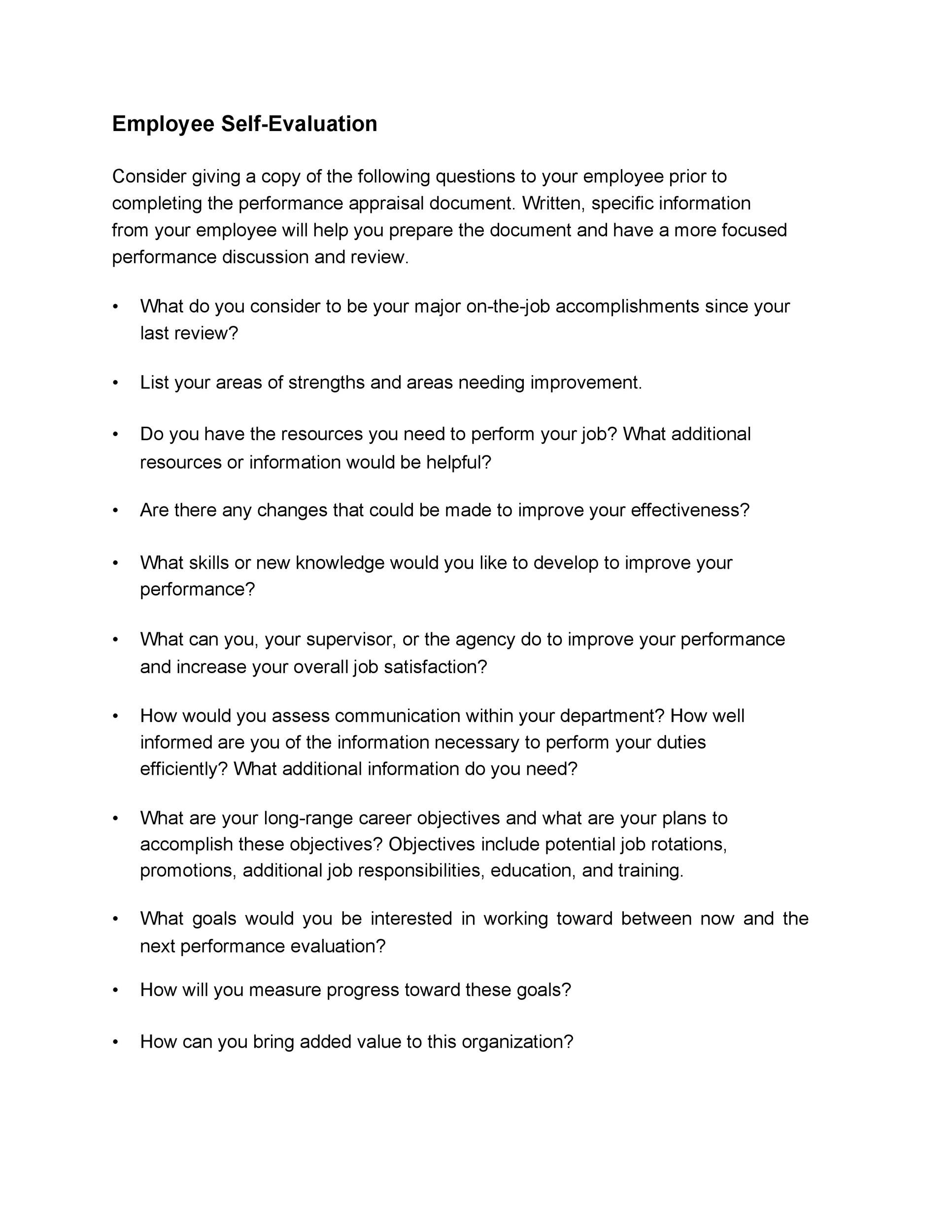 50  self evaluation examples  forms  u0026 questions  u1405 templatelab