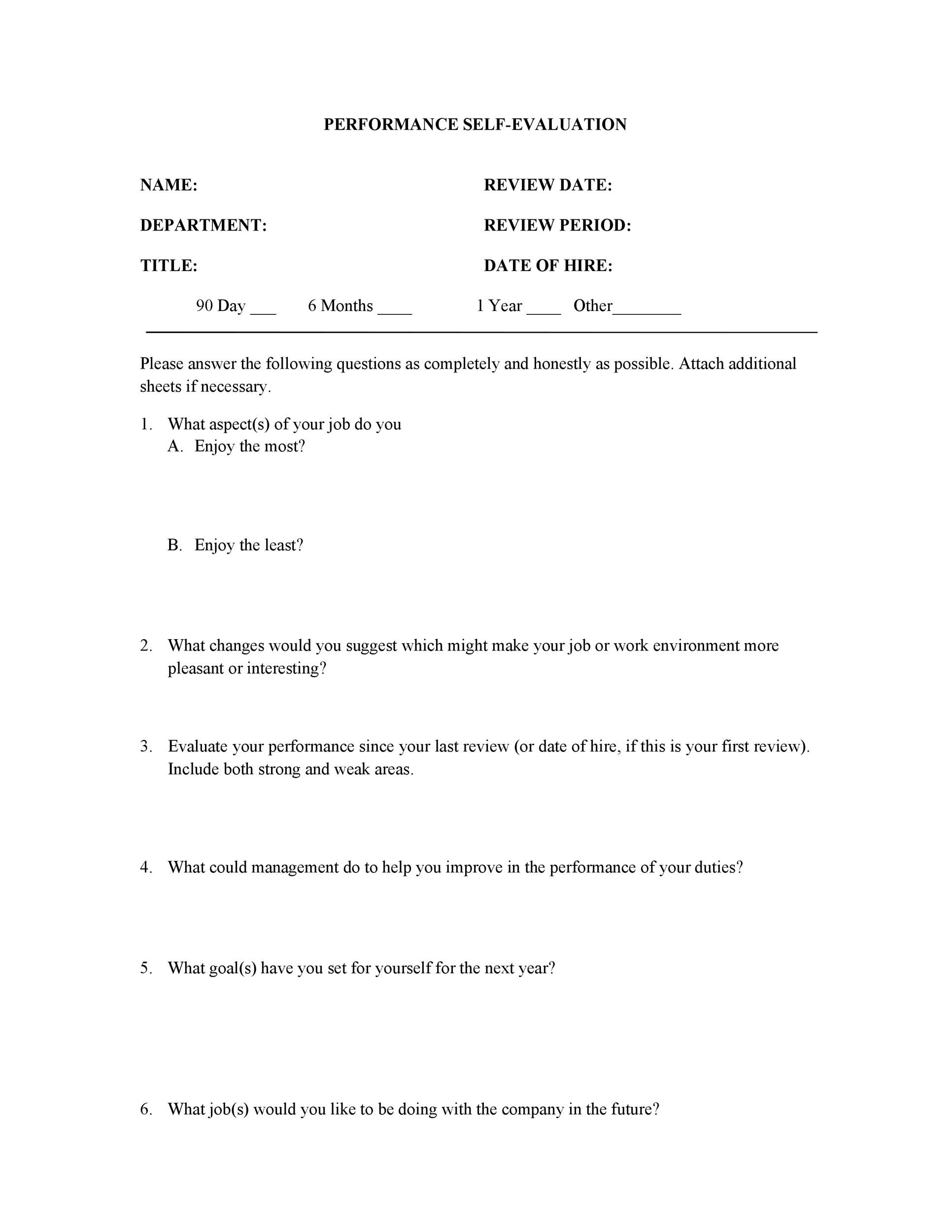Year End Review Template: 50+ Self Evaluation Examples, Forms & Questions ��� Template Lab