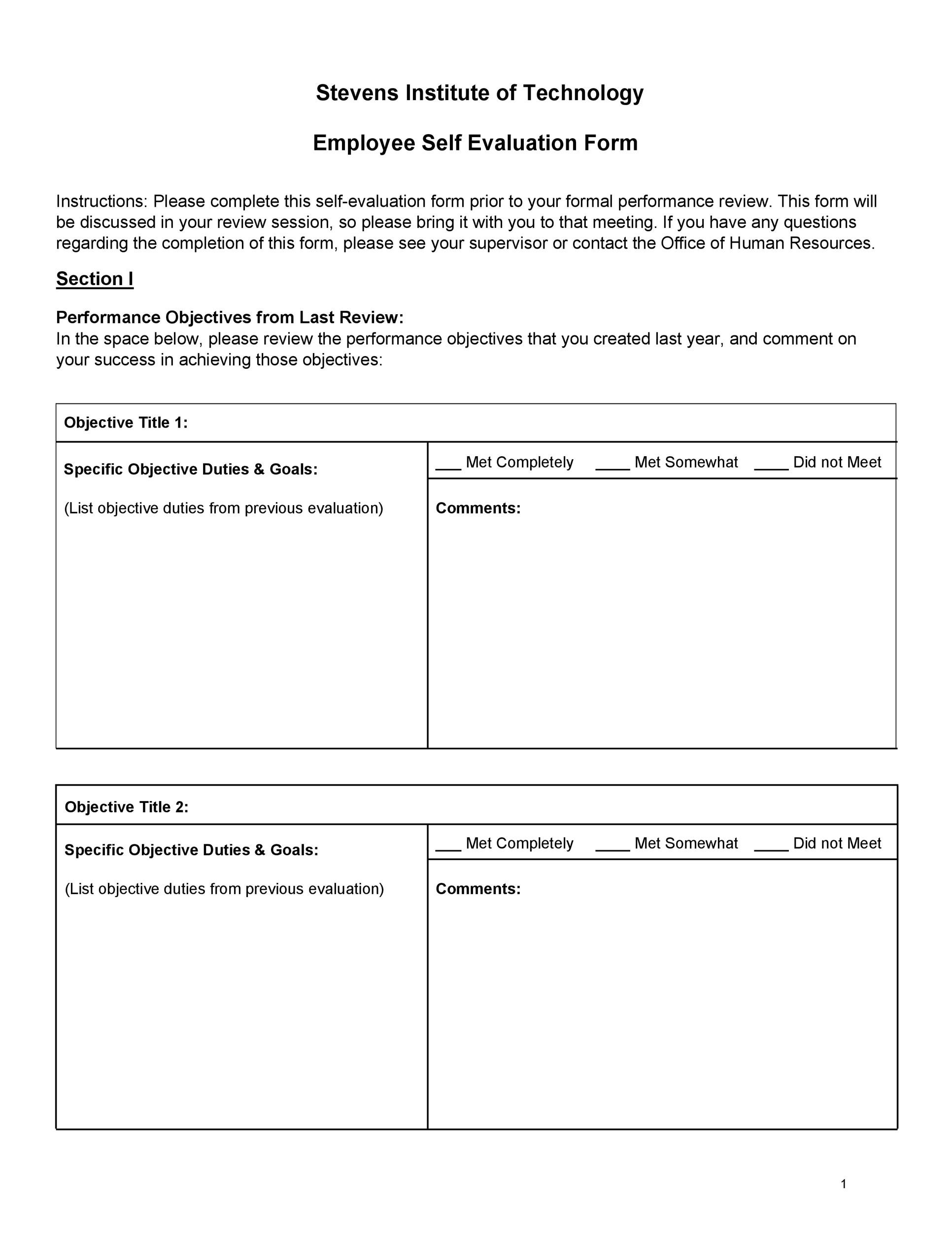 Self Evaluation Examples Forms  Questions  Template Lab