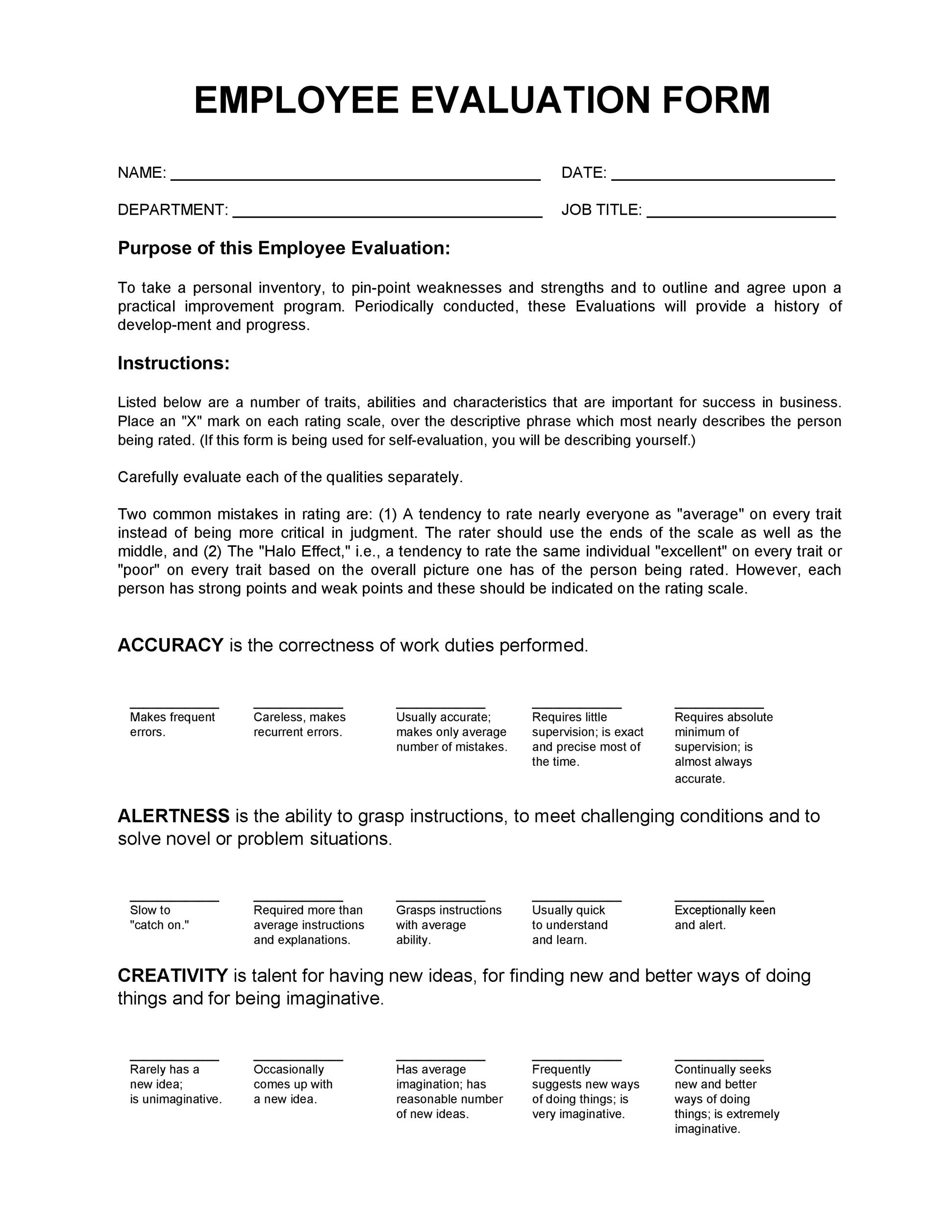 Help in write employee evaluations