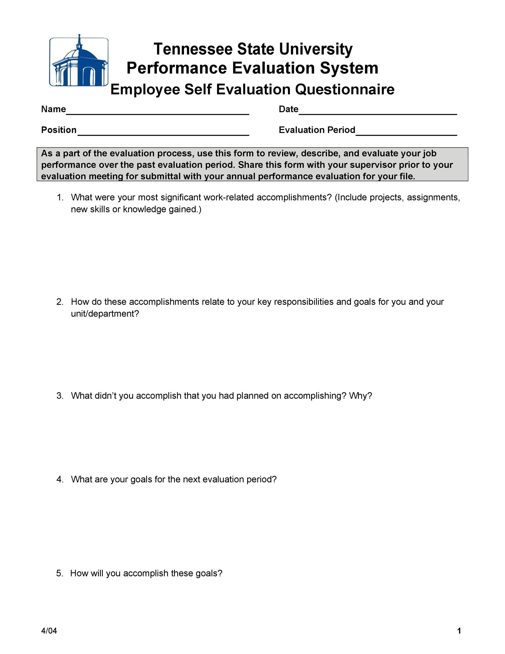 Free self evaluation examples 14
