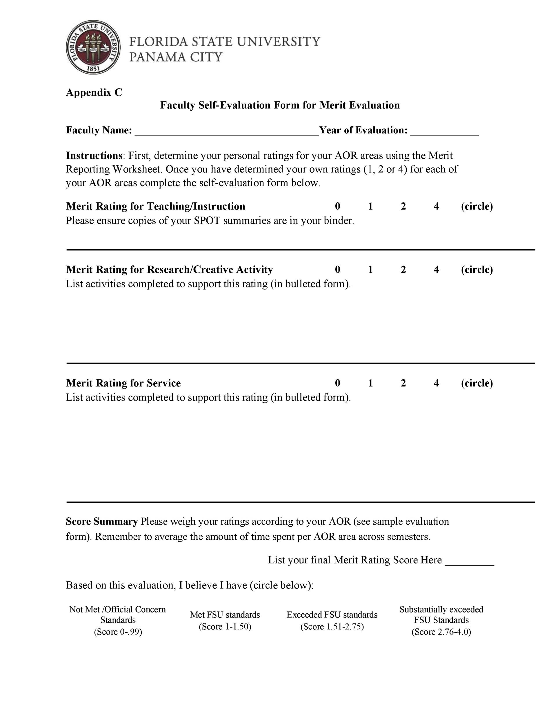 Free self evaluation examples 29