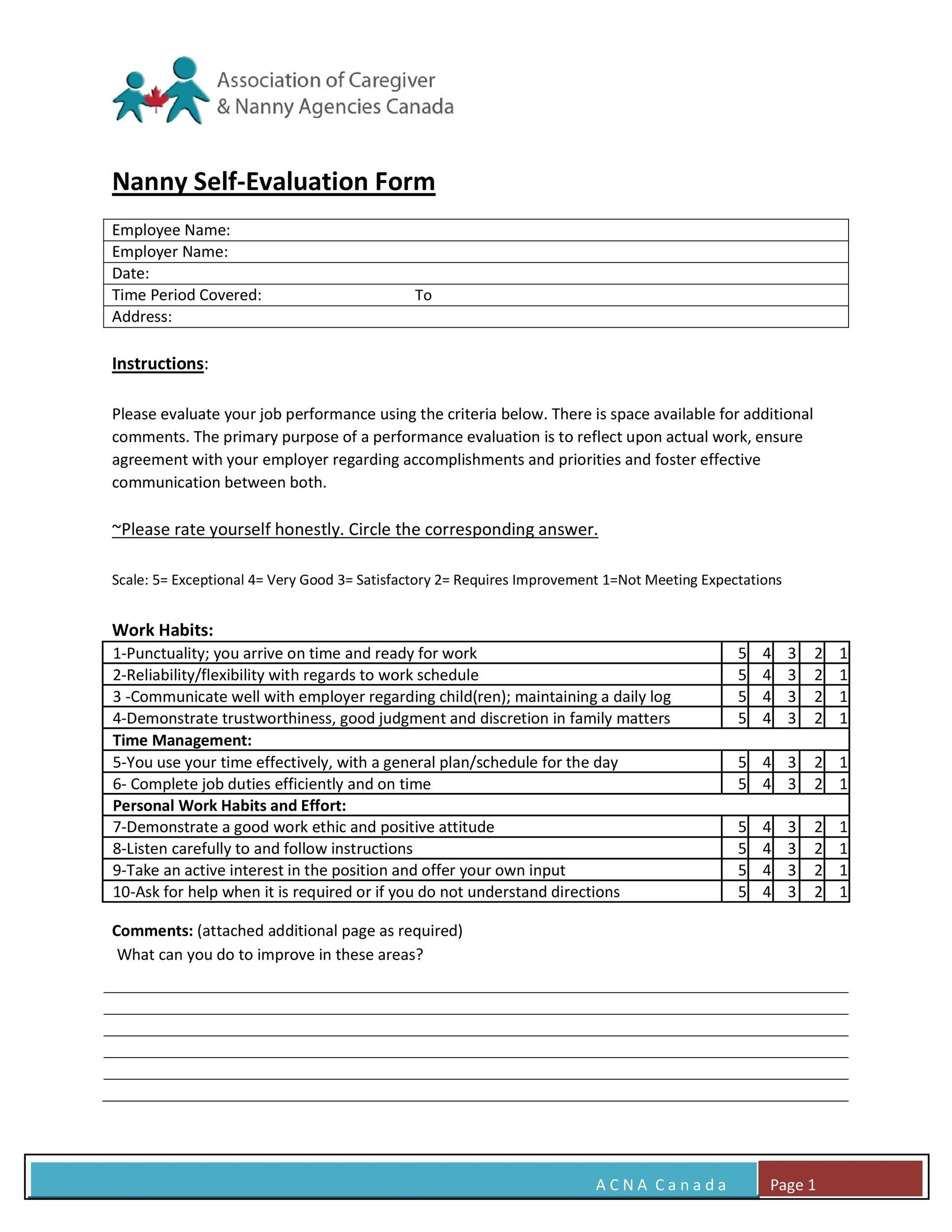 Free self evaluation examples 48