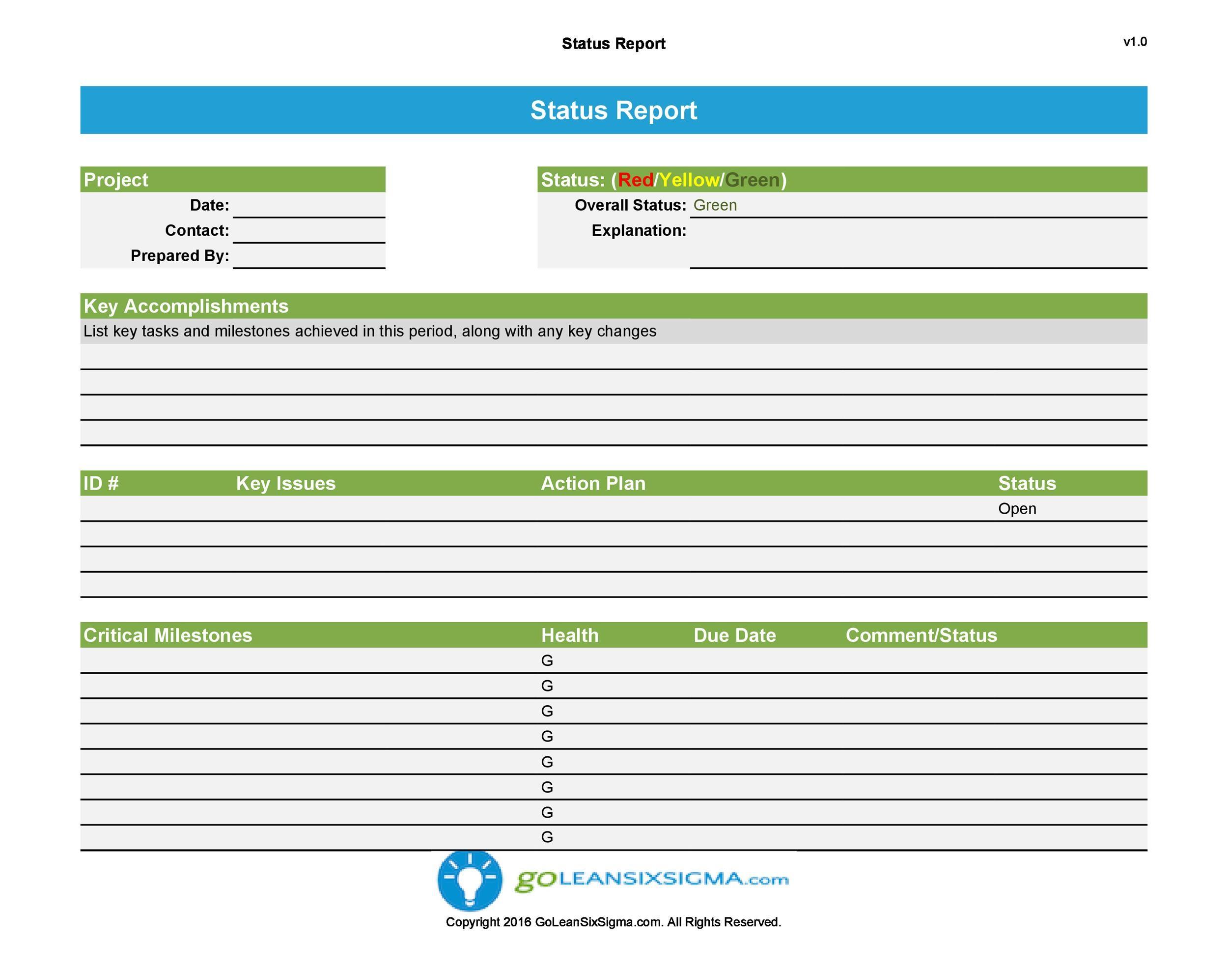 Free status report template 08