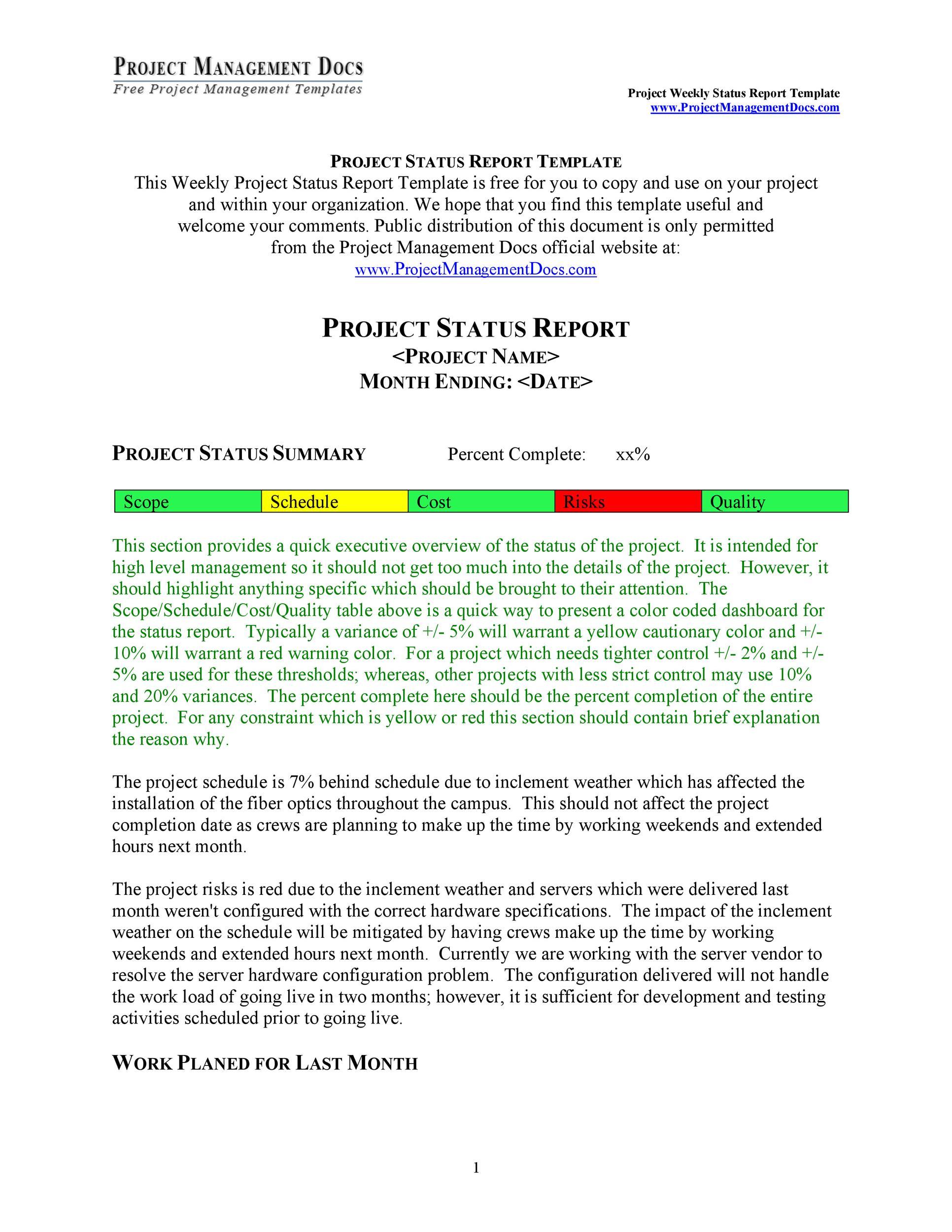 Free status report template 11