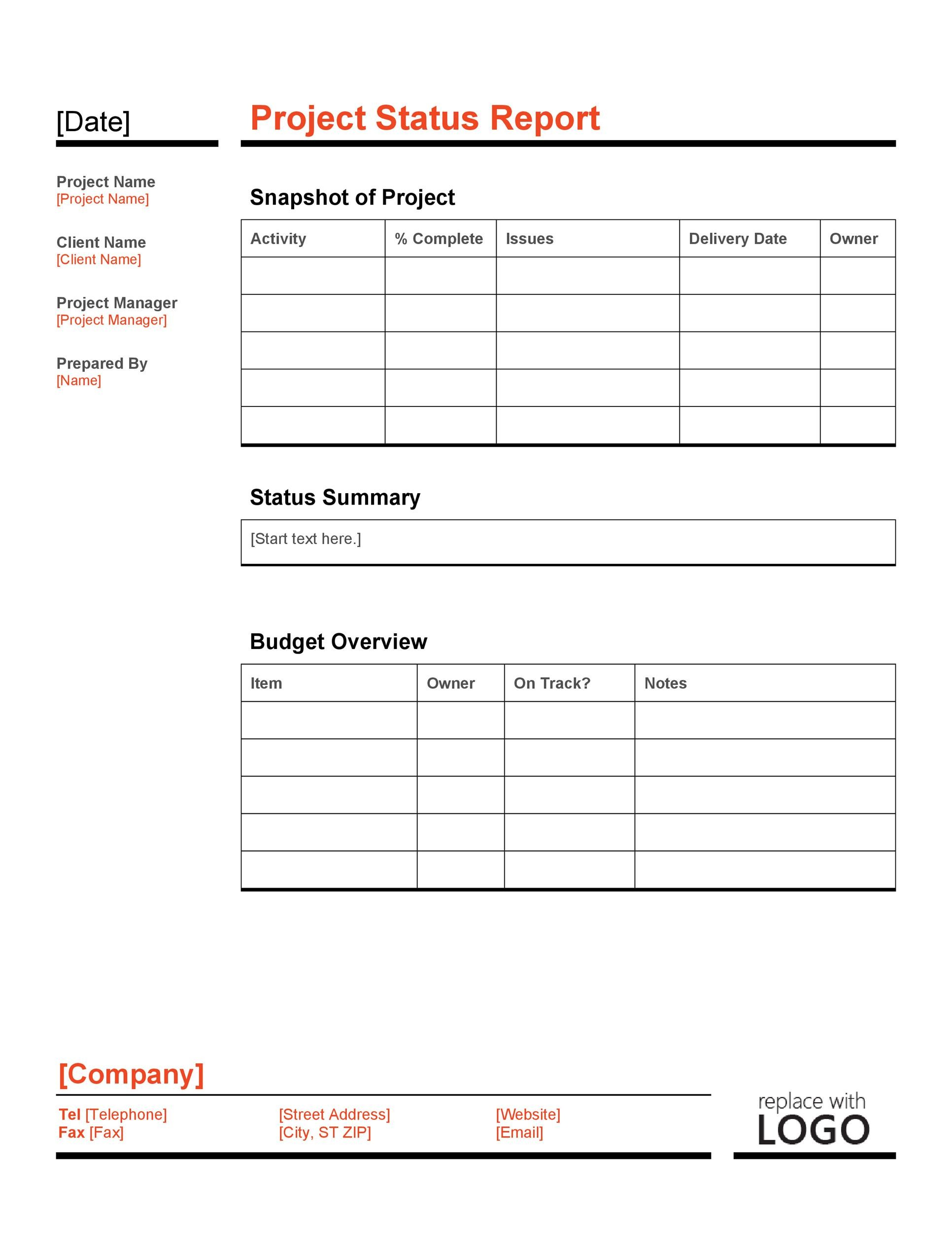 40 Project Status Report Templates Word Excel Ppt ᐅ Template Lab