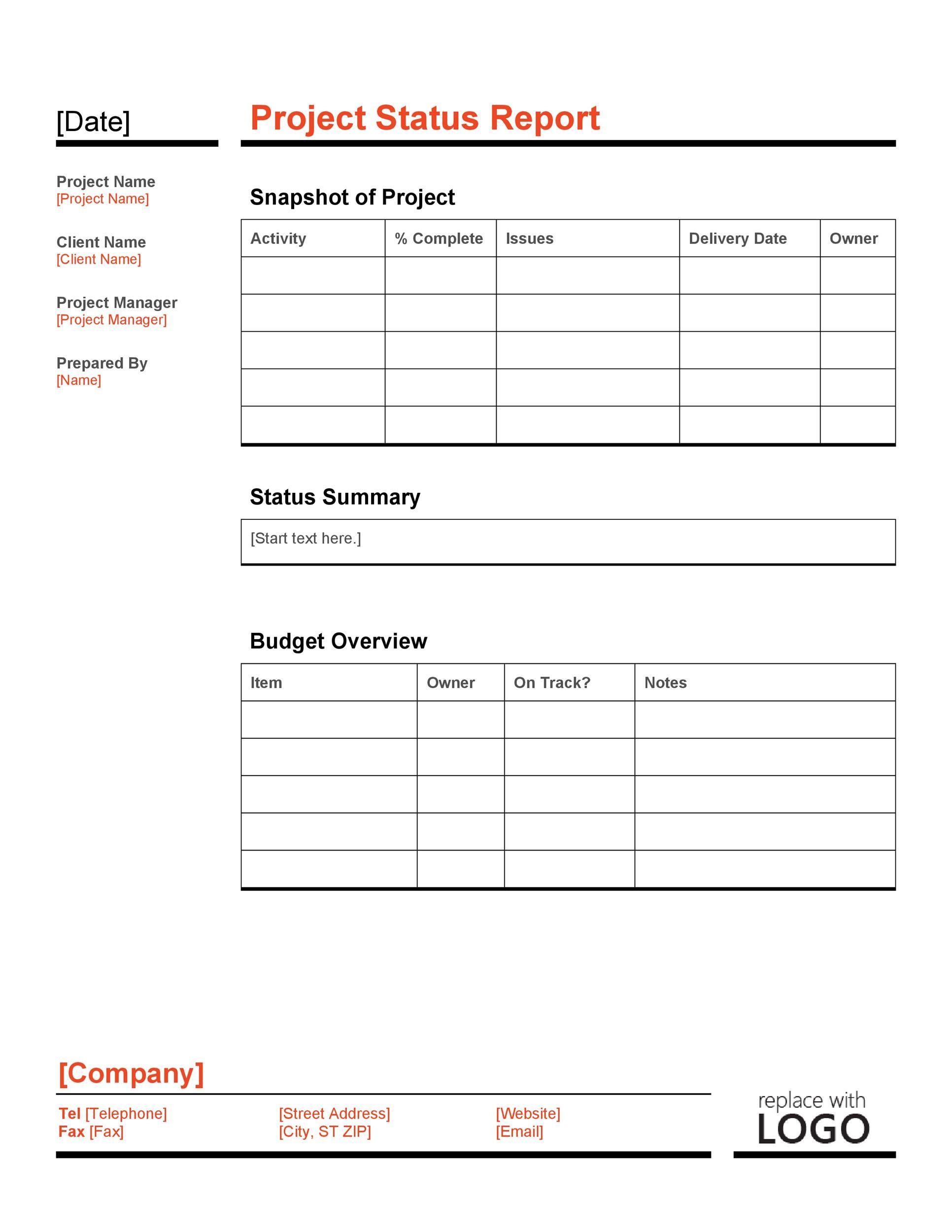 Free status report template 12