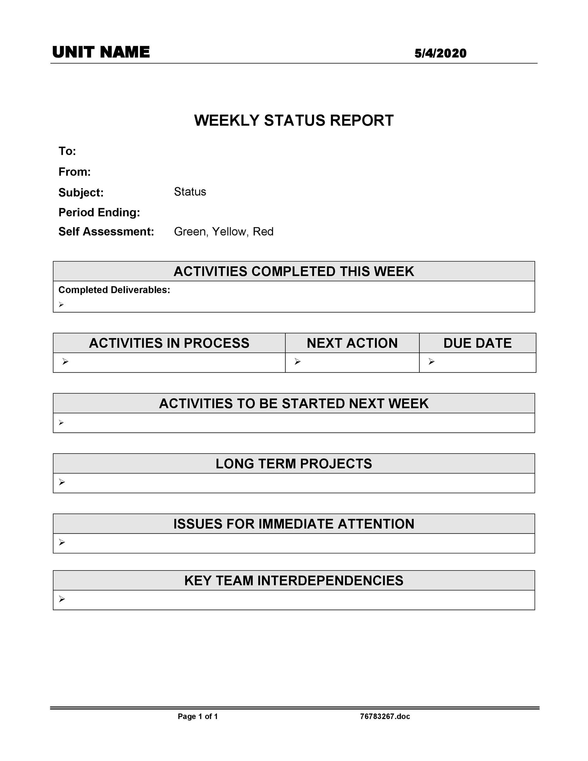 Free status report template 14