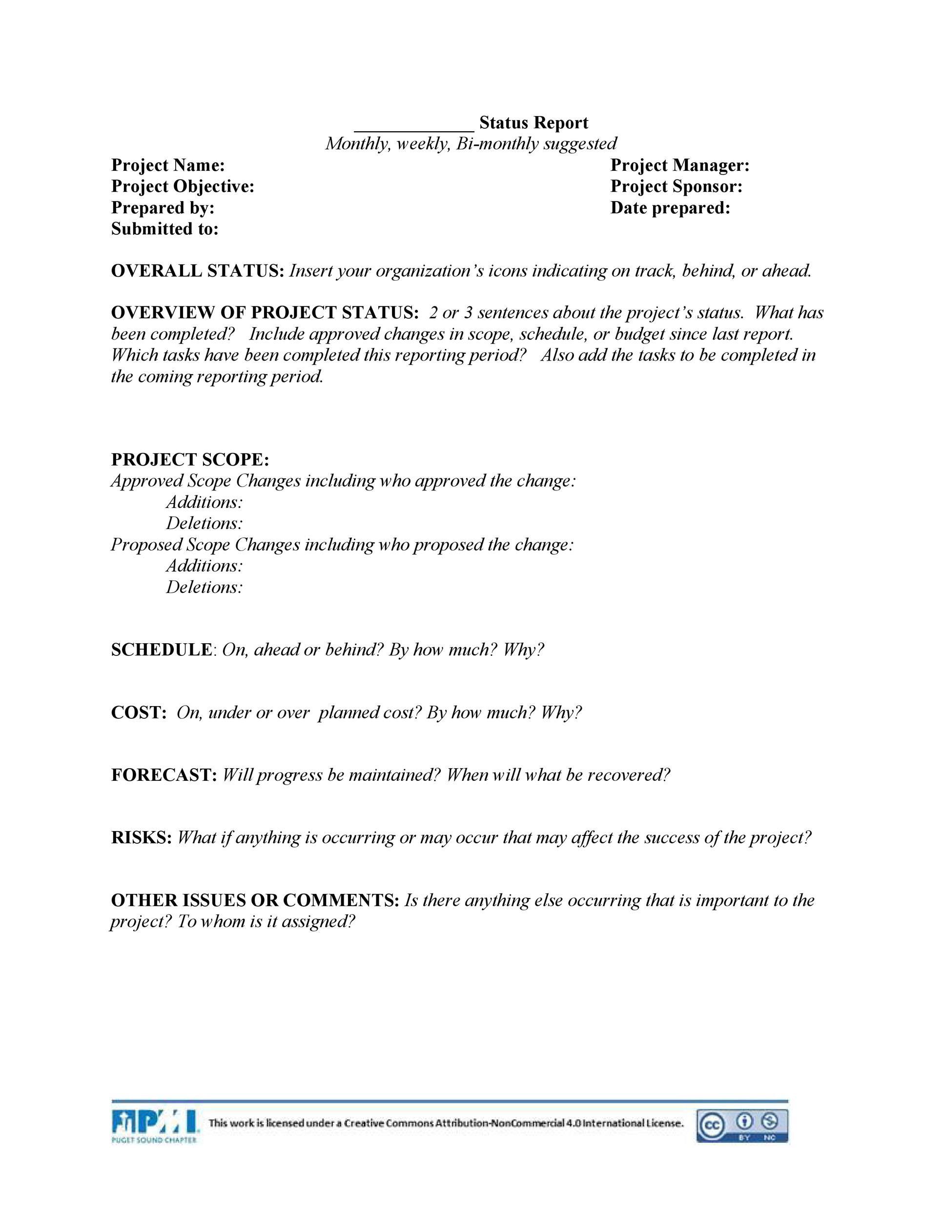 Free status report template 20