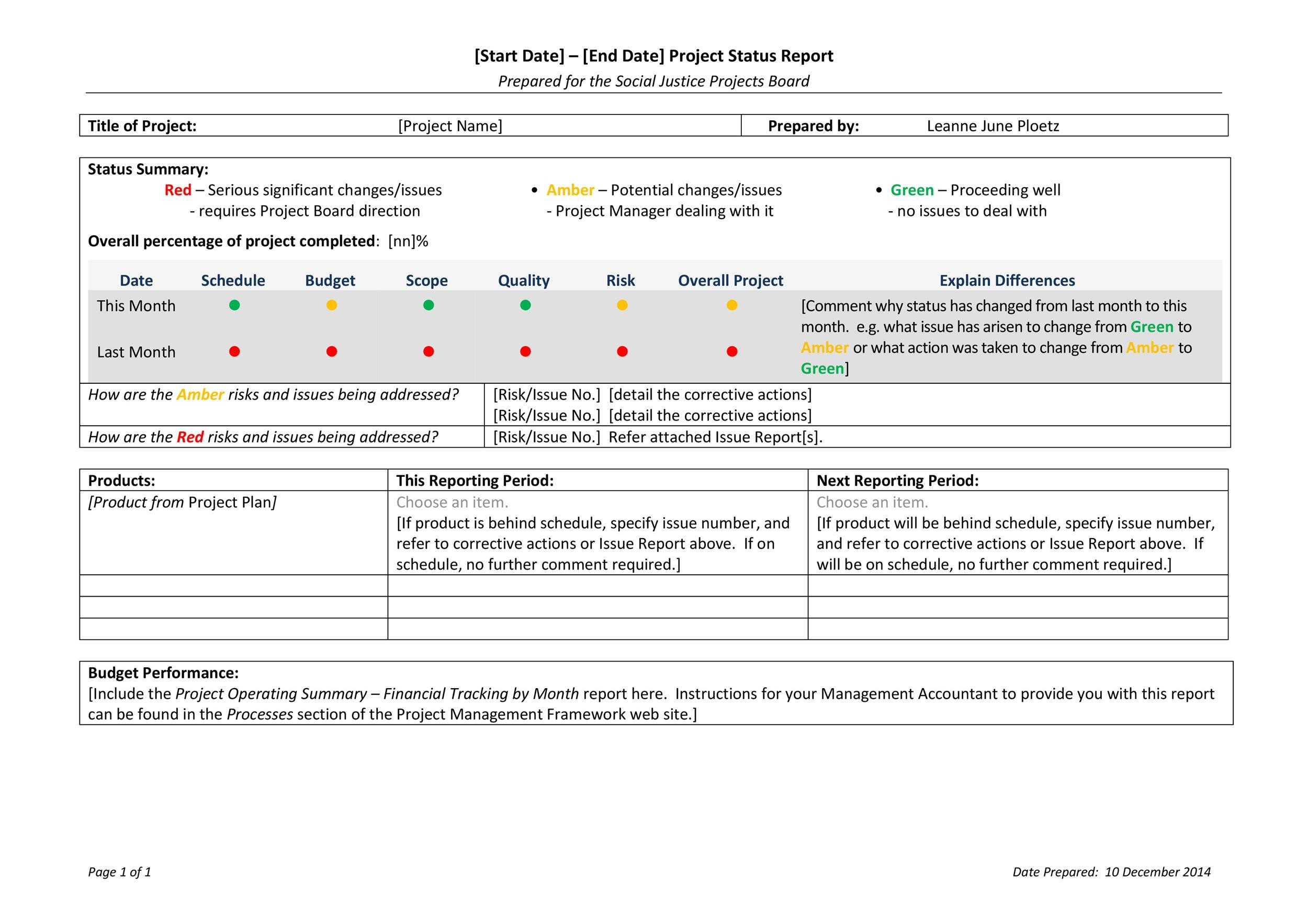 40 project status report templates word excel ppt template lab