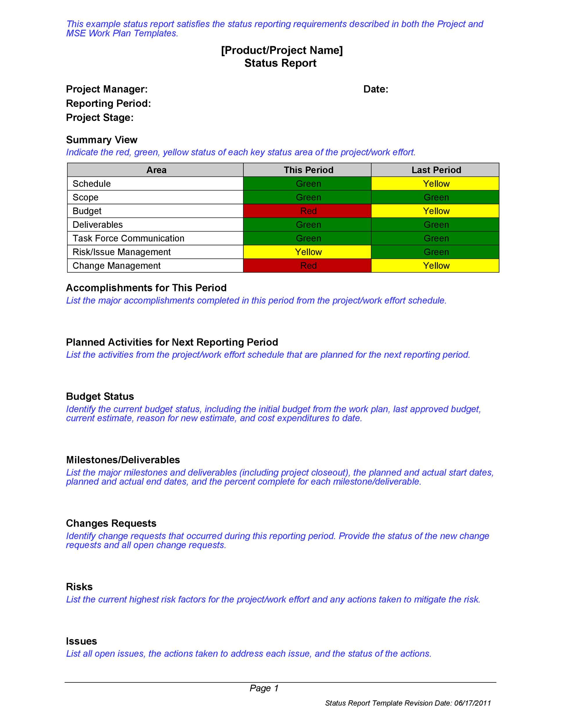 Free status report template 25