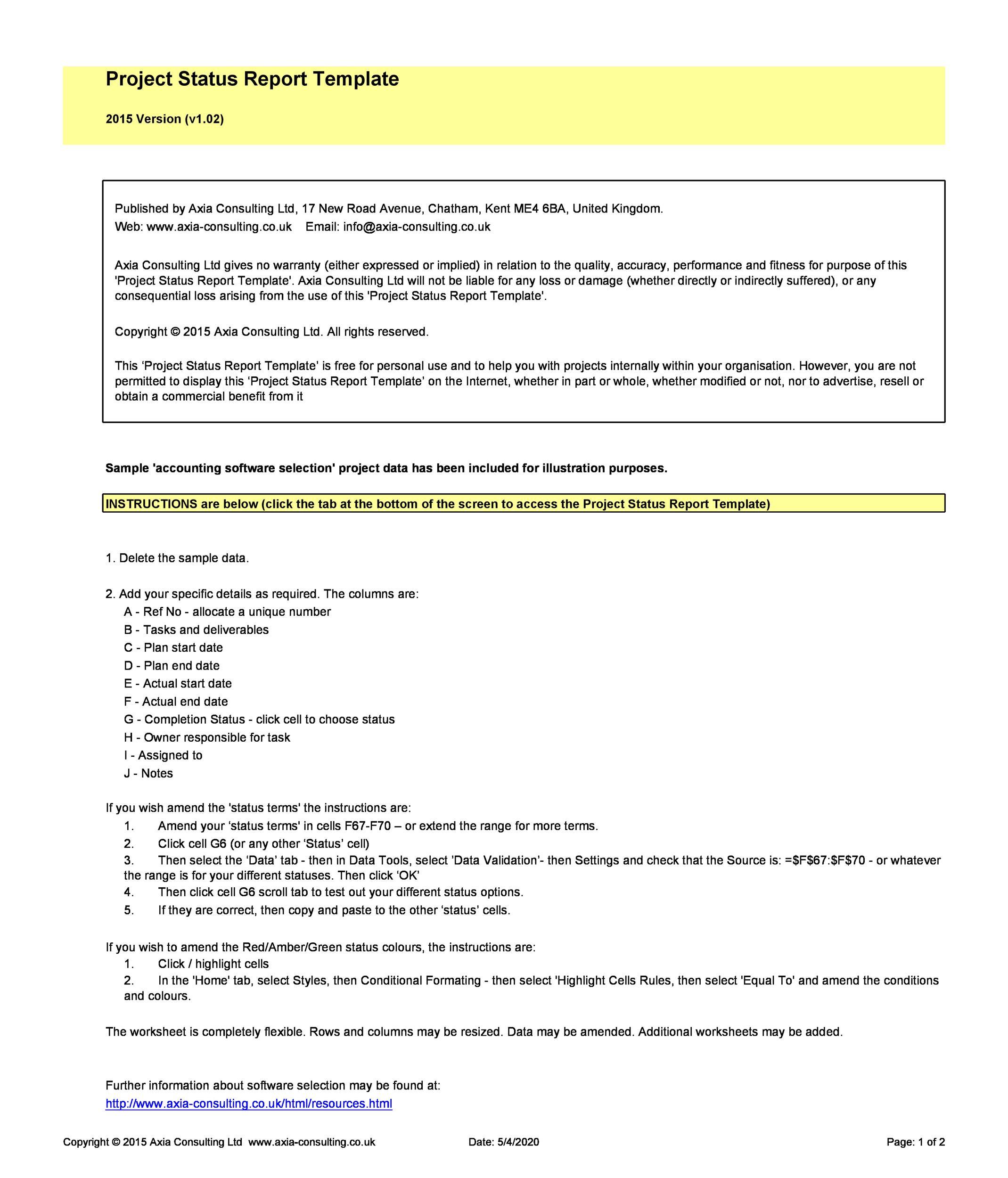 Free status report template 27
