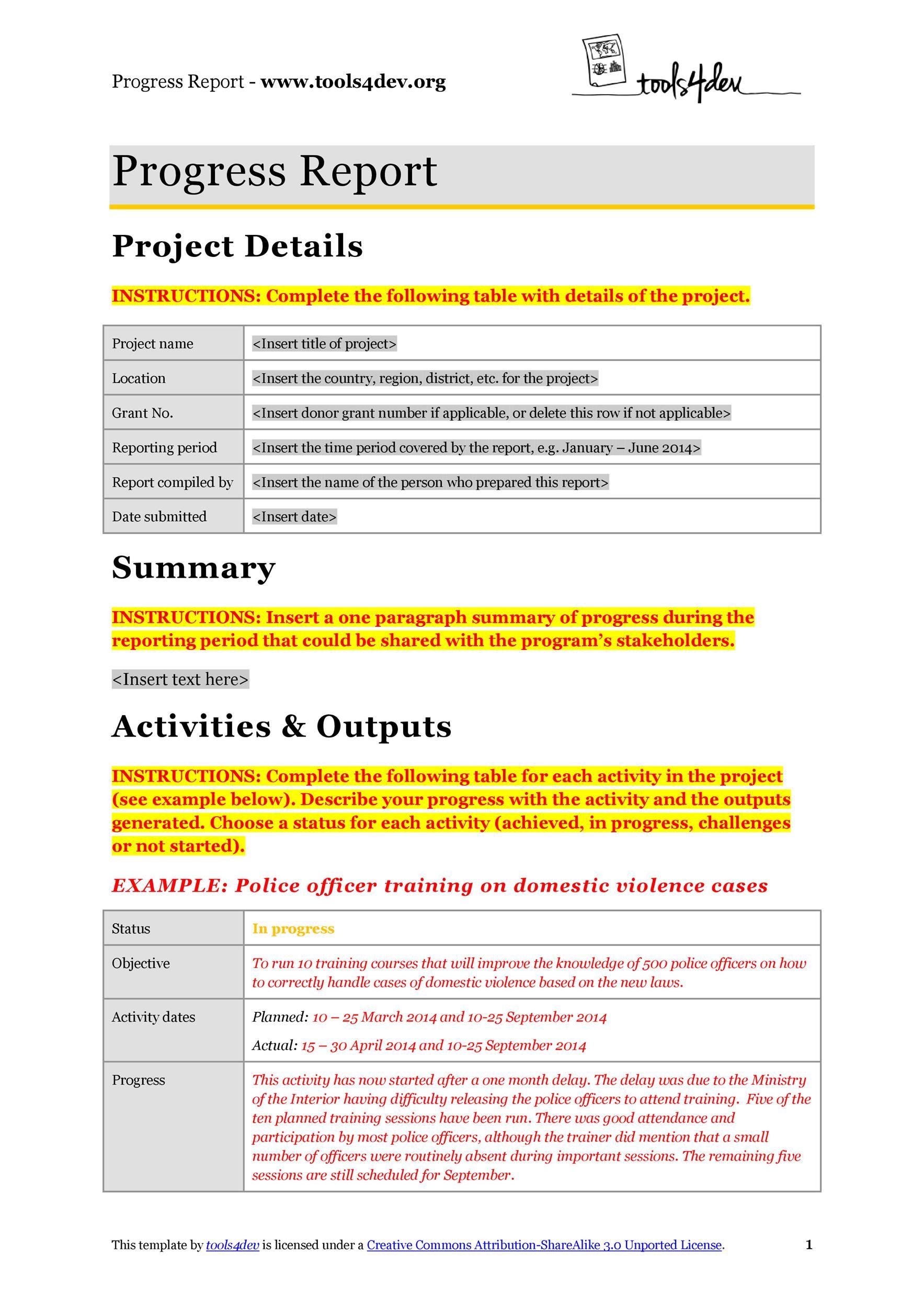 Free status report template 34