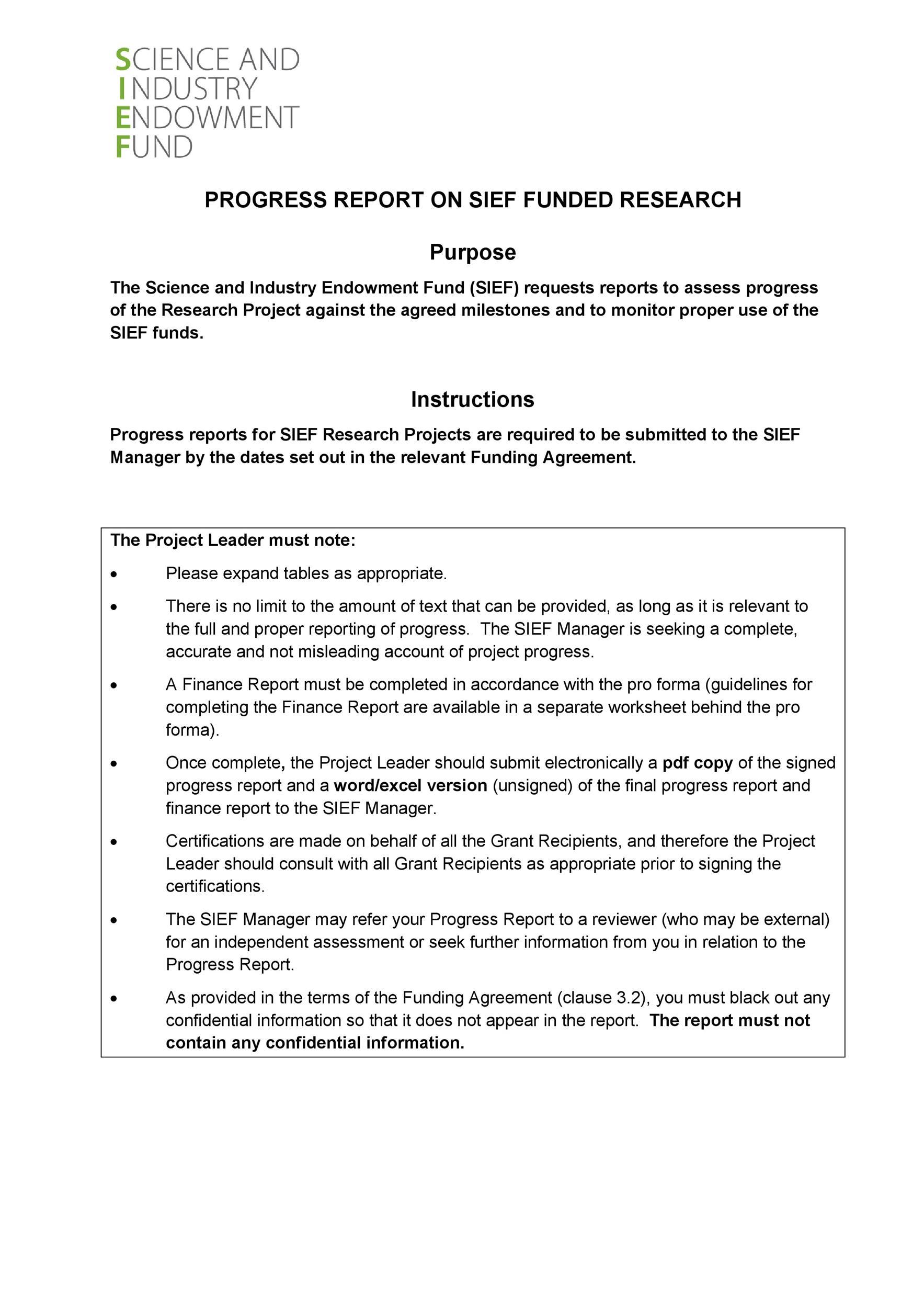Free status report template 36