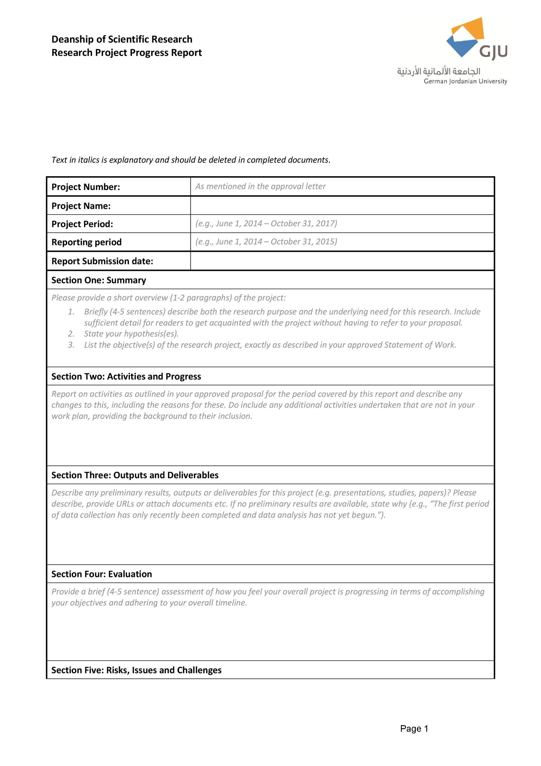 Free status report template 41