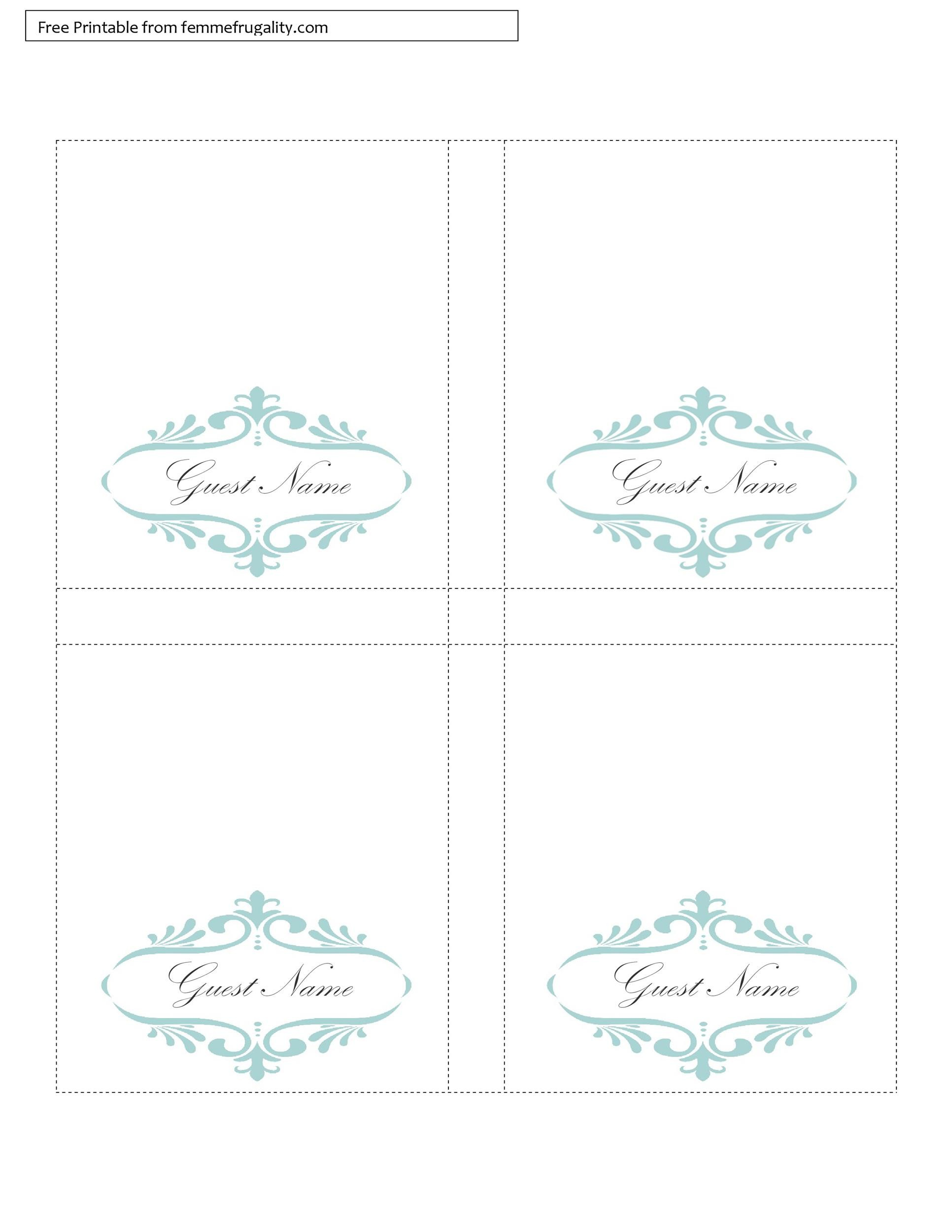 Selective image for printable table cards