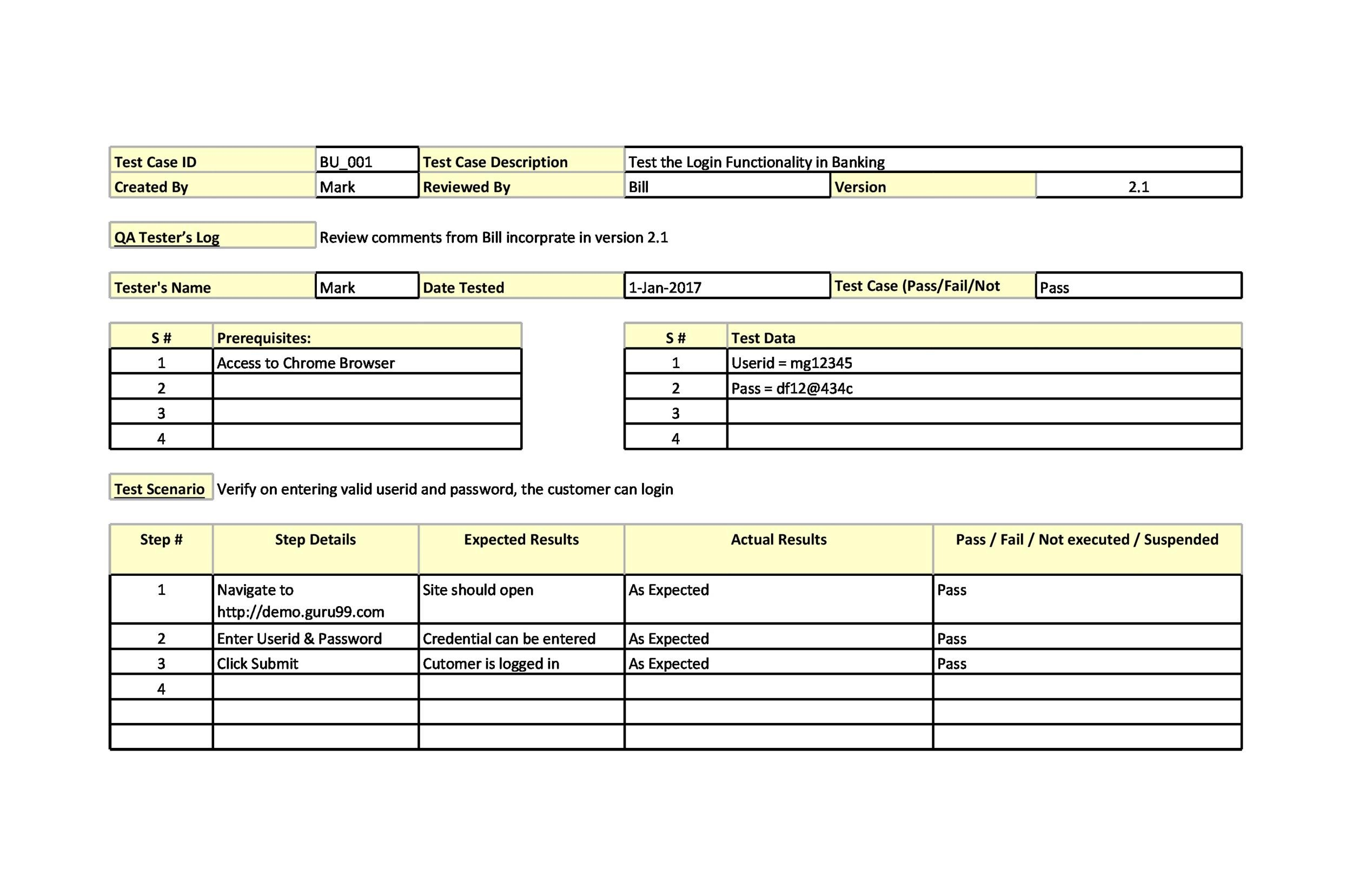 Free test case template 10