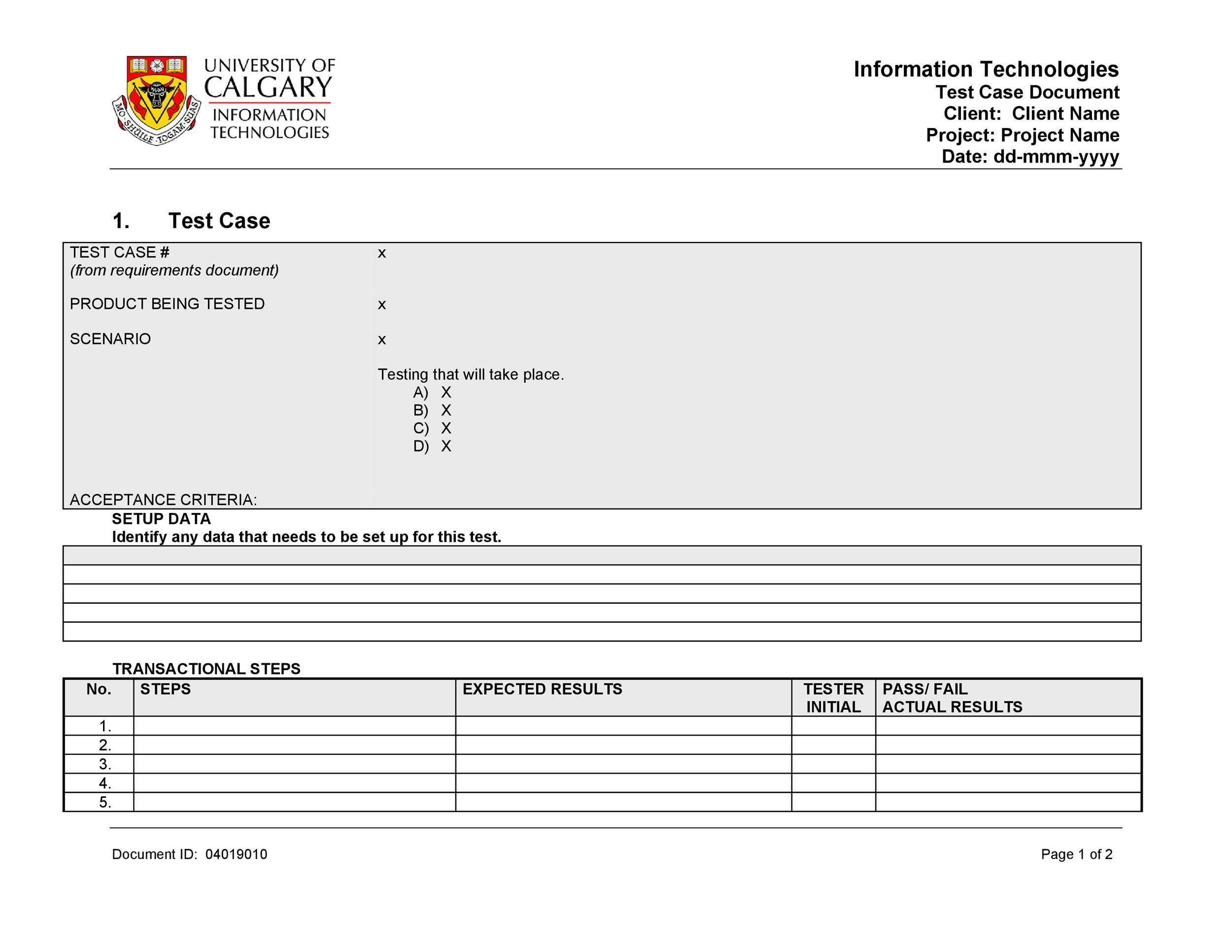 Free test case template 32