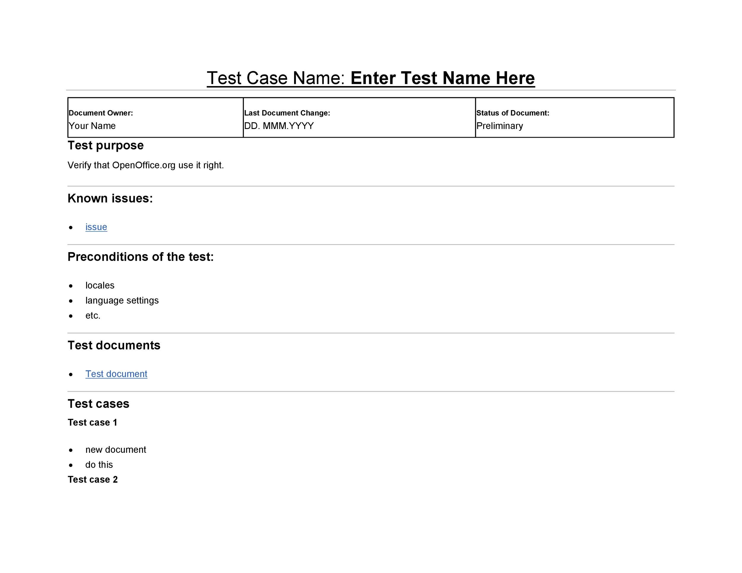 Free test case template 33