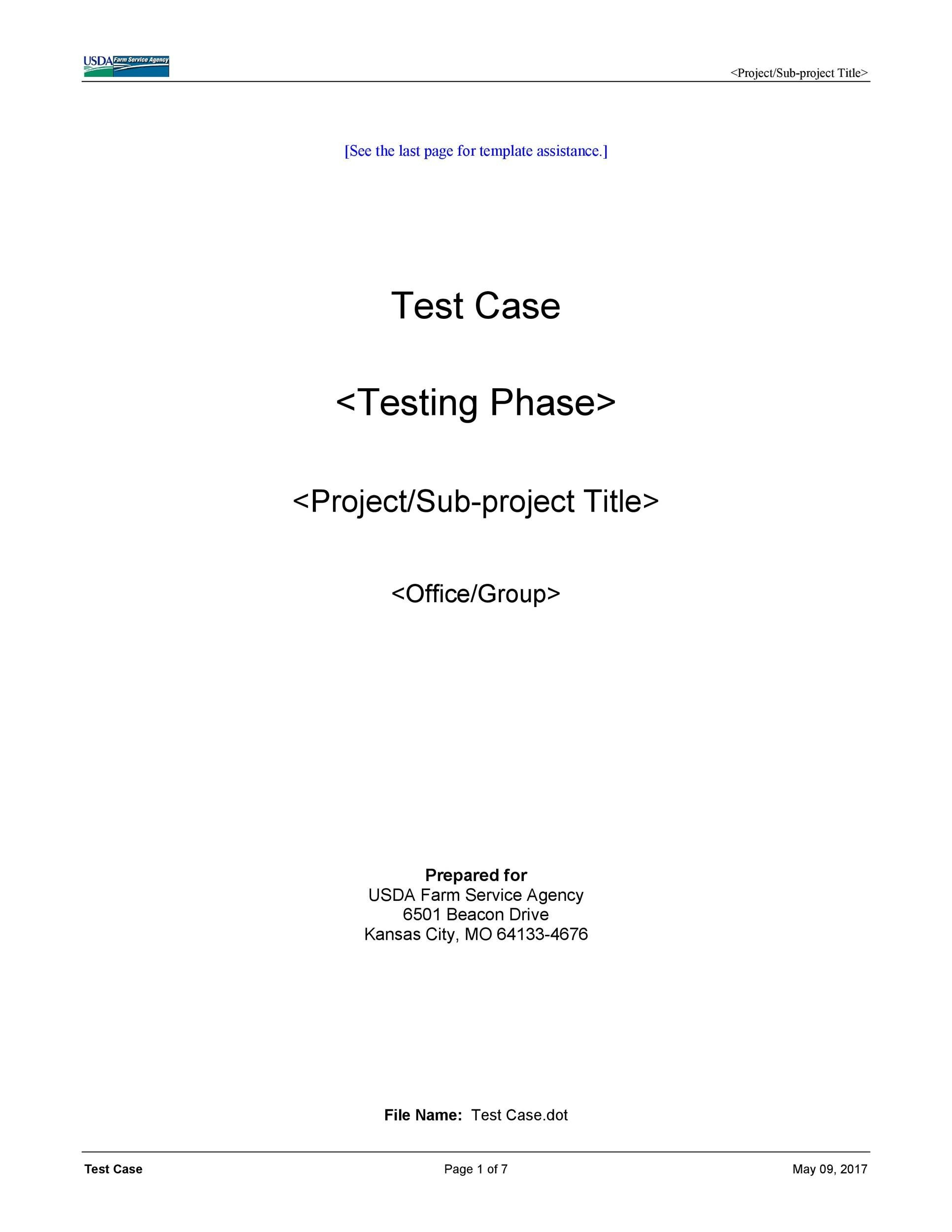 Free test case template 35