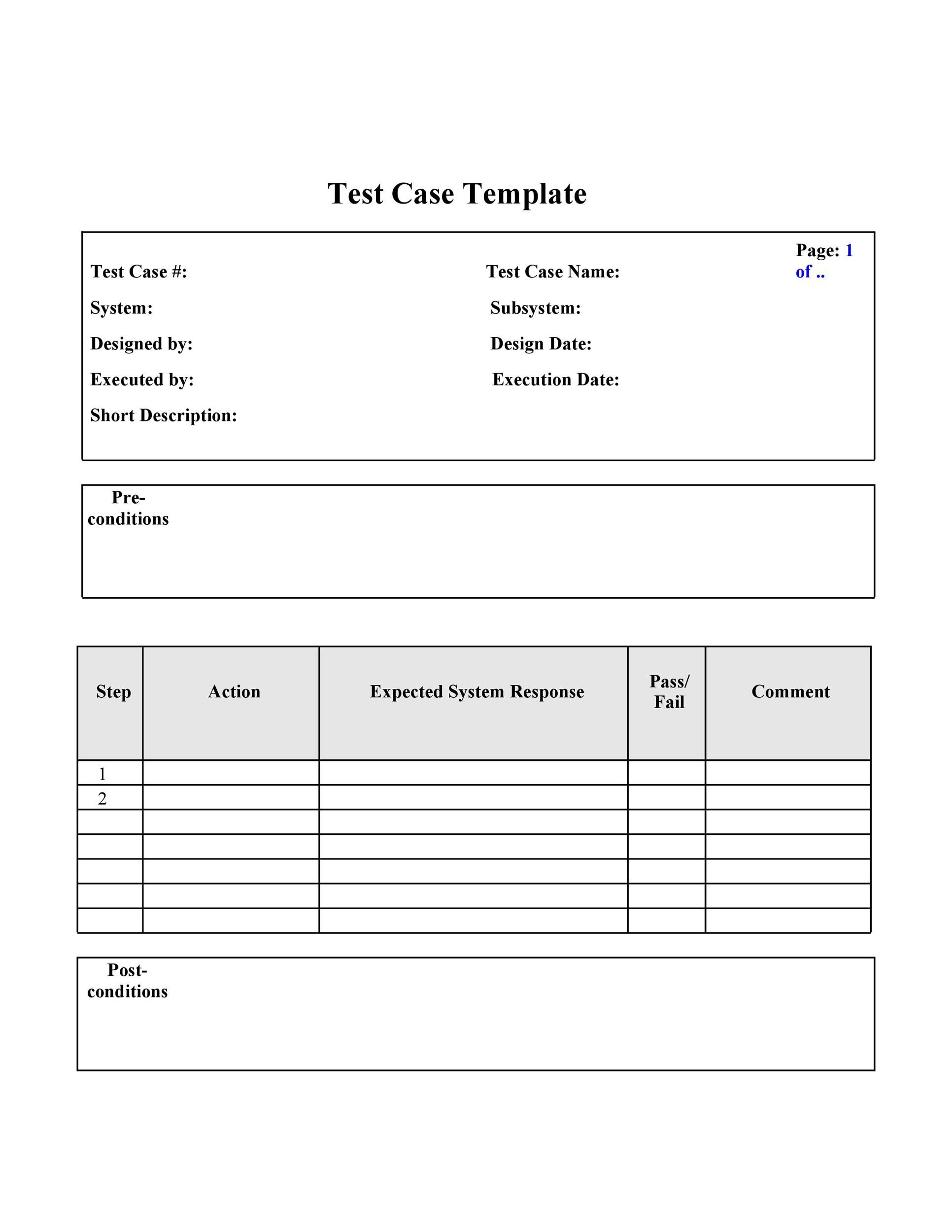 Free test case template 40