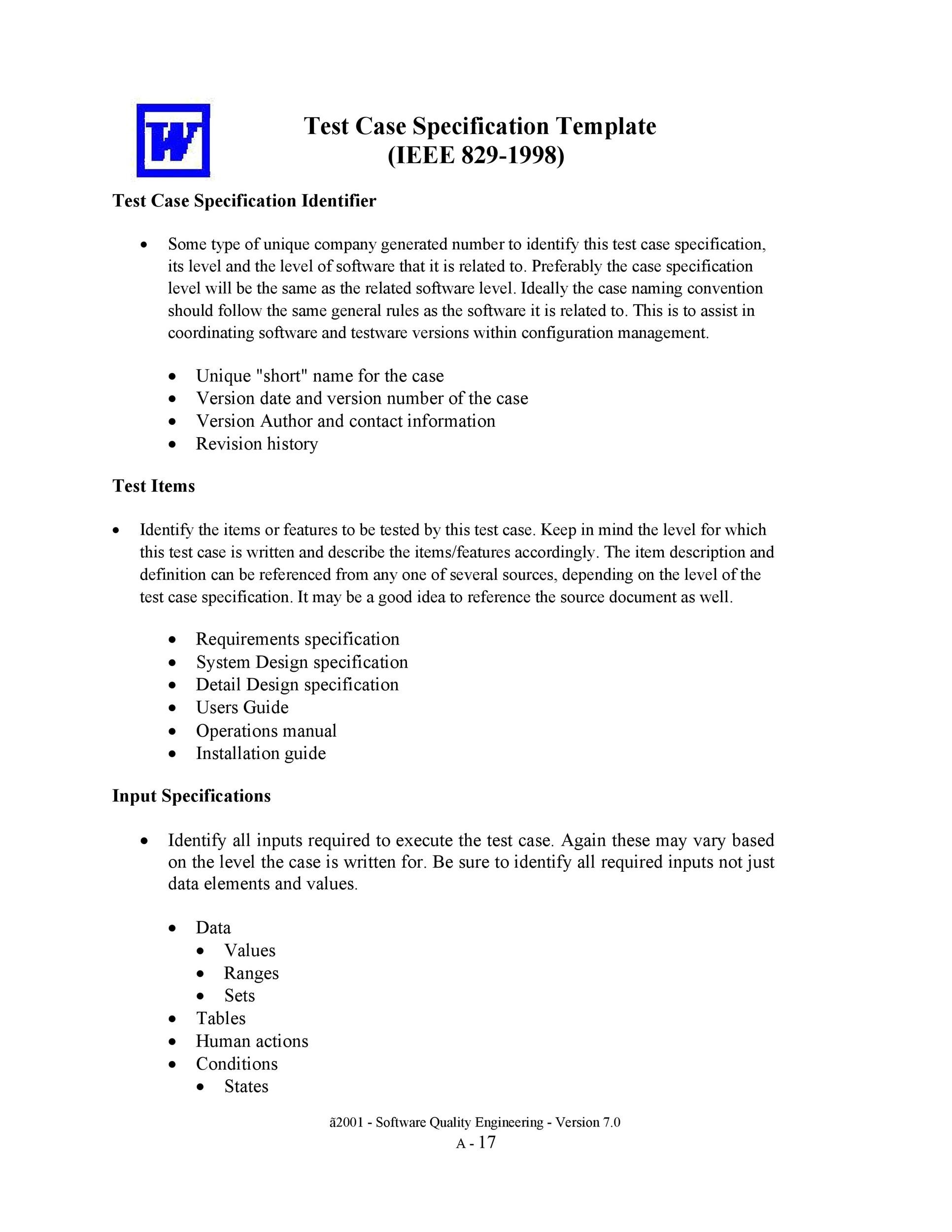 Free test case template 43