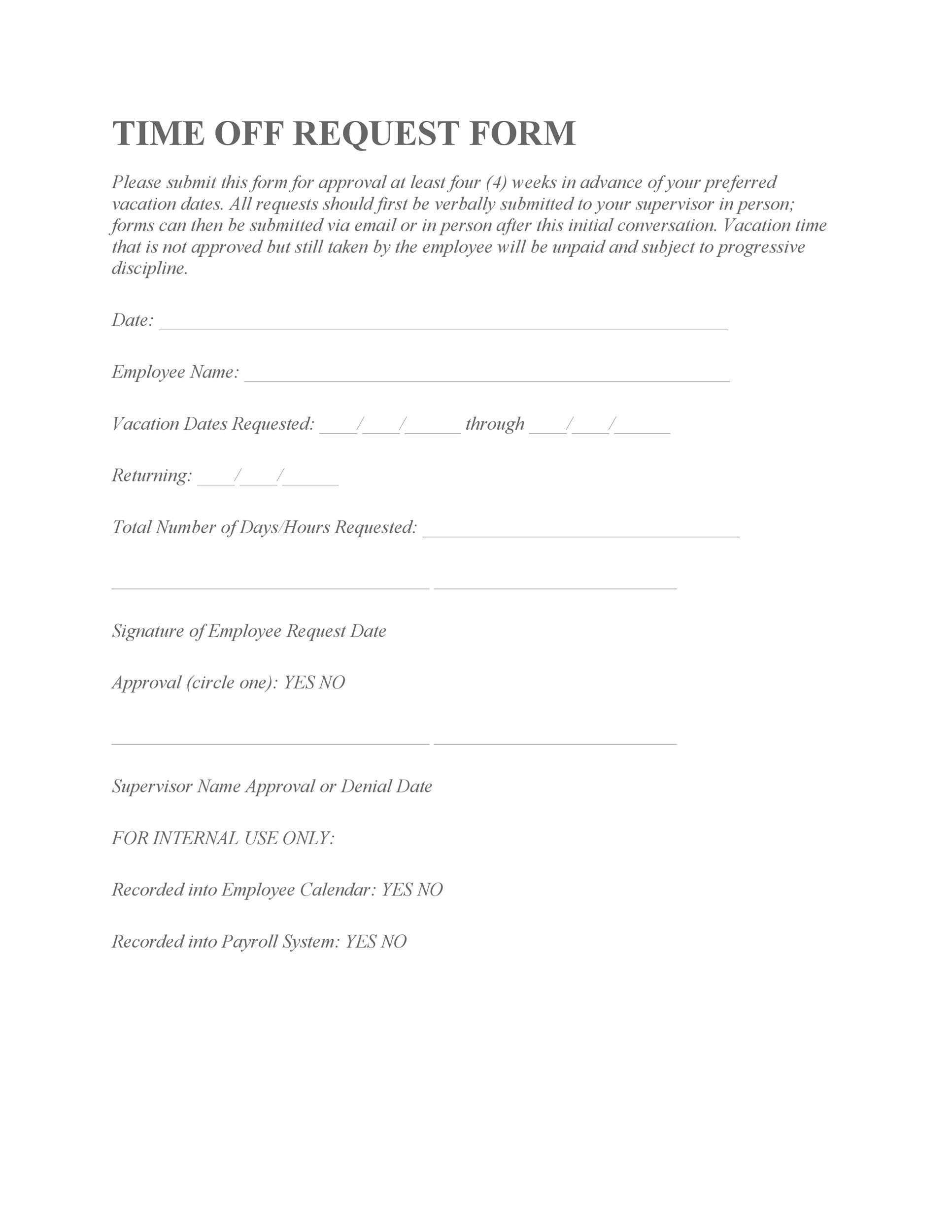 40 Effective Time Off Request Forms Templates Template Lab