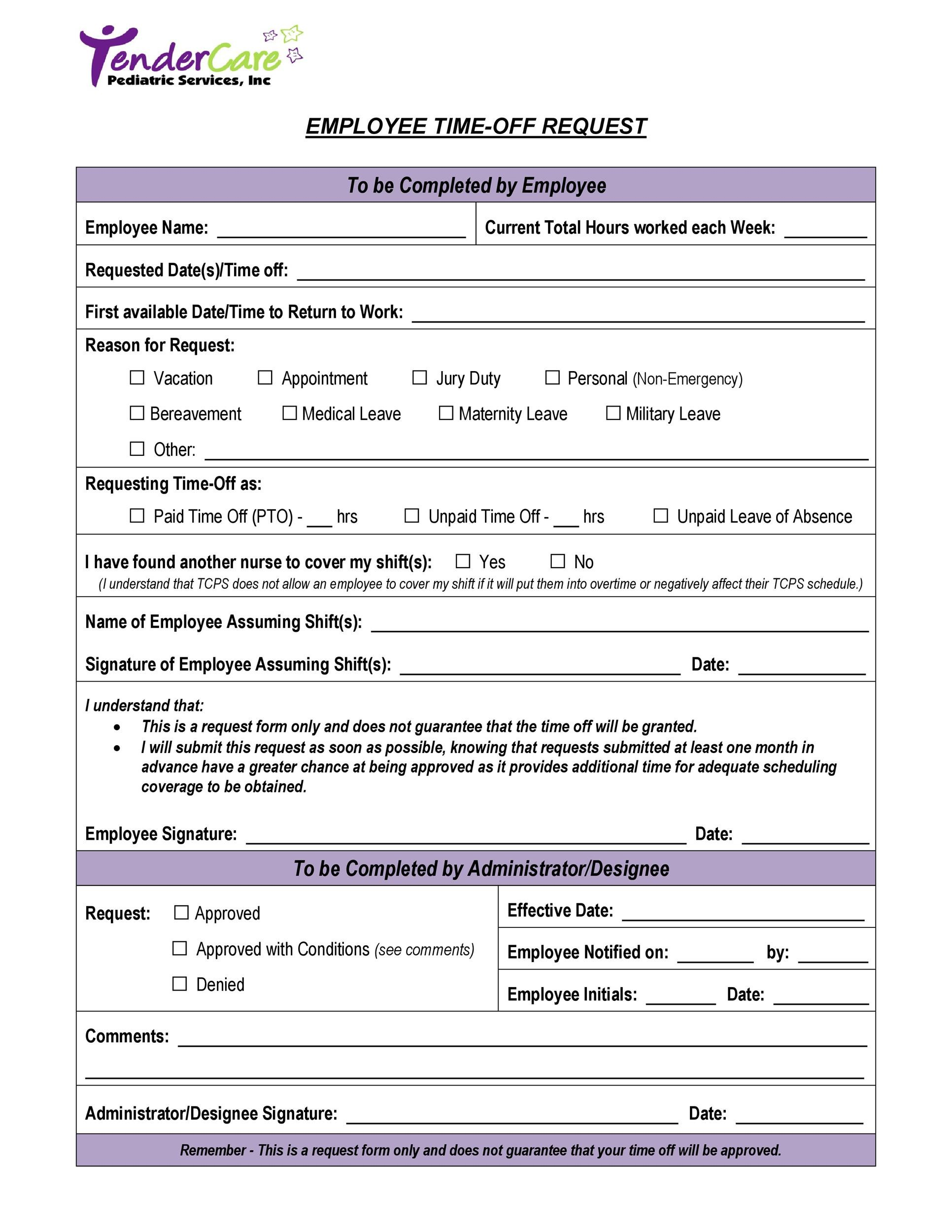 Free time off request form template 04