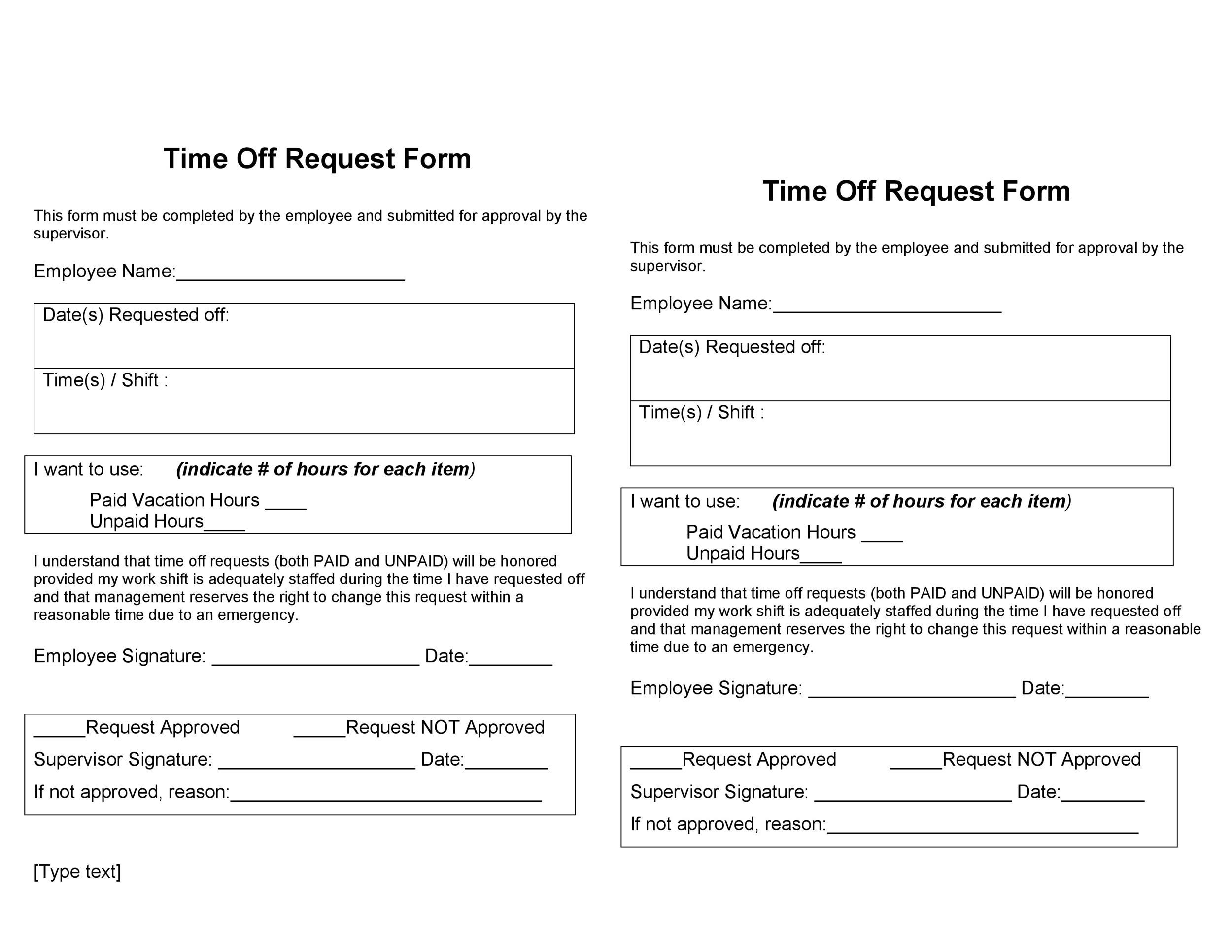 Free time off request form template 07