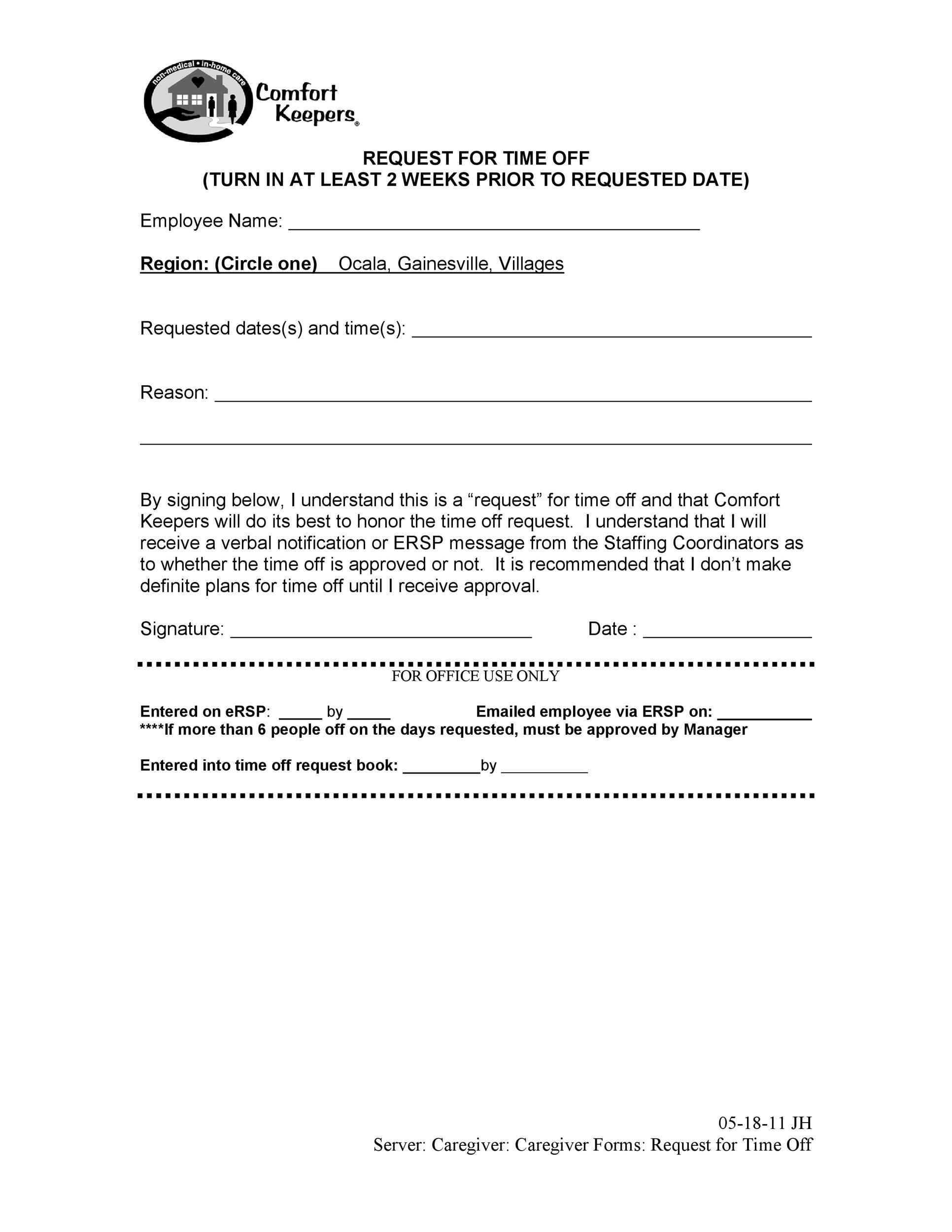 letter asking for time off from work 40 effective time request forms amp templates 27991 | time off request form template 09