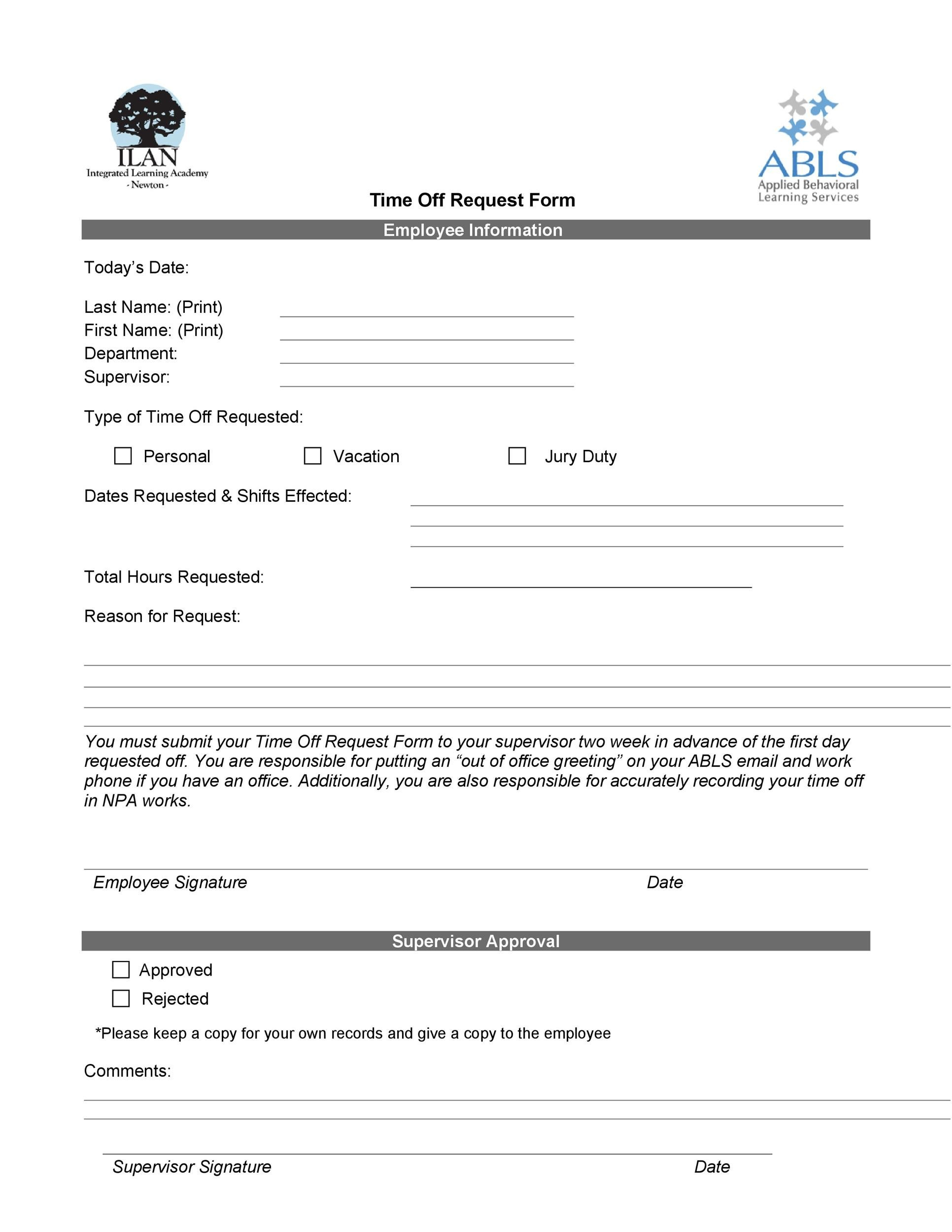 Off Request Form Template Time Letter Sample And Vacation Forms .