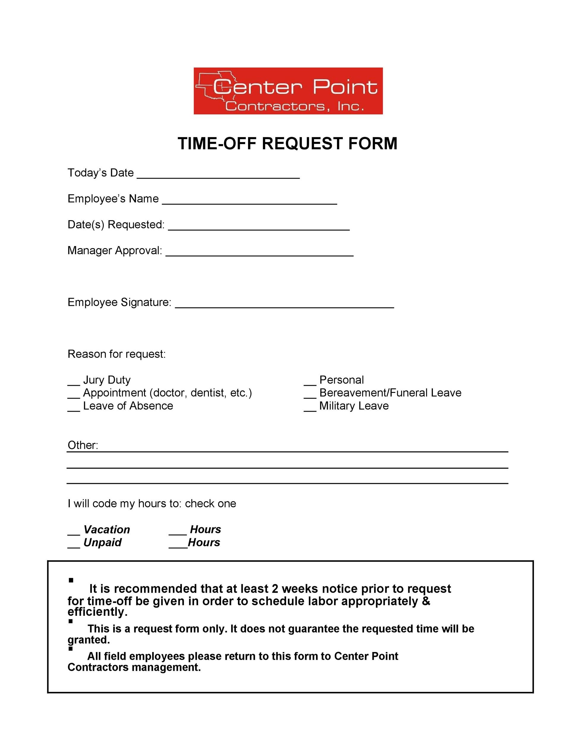 Free time off request form template 12
