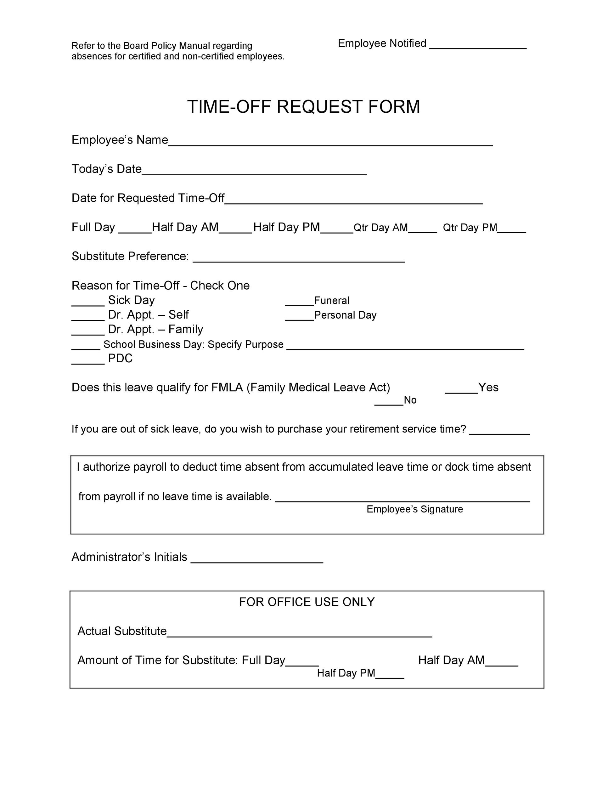 Free time off request form template 13
