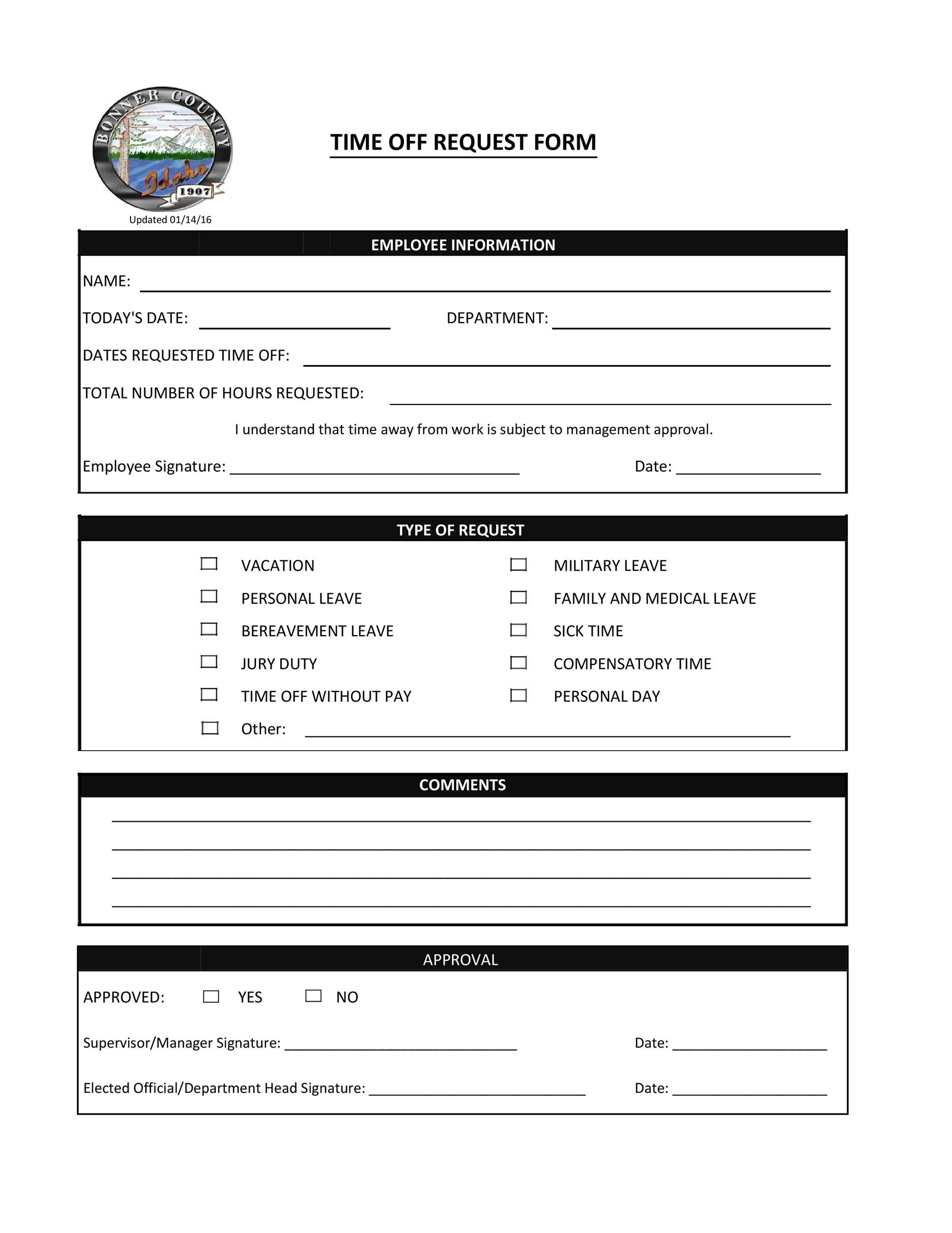 Free time off request form template 14
