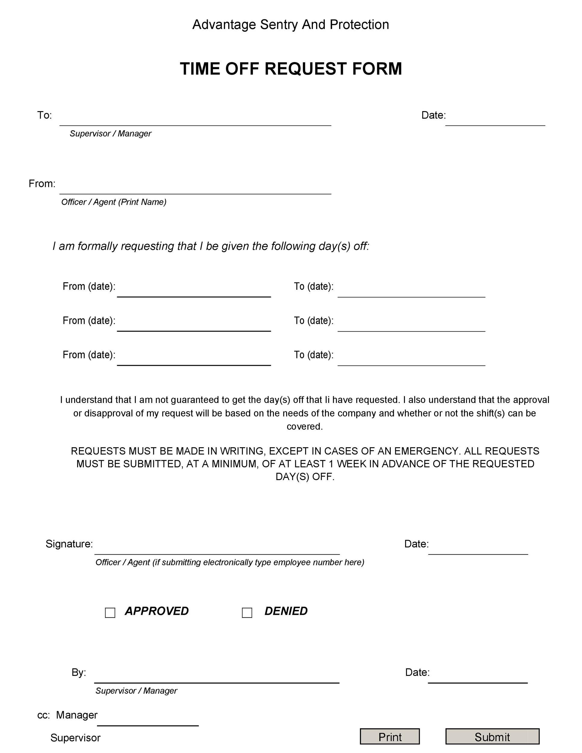 time off request form template 15 template lab. Black Bedroom Furniture Sets. Home Design Ideas