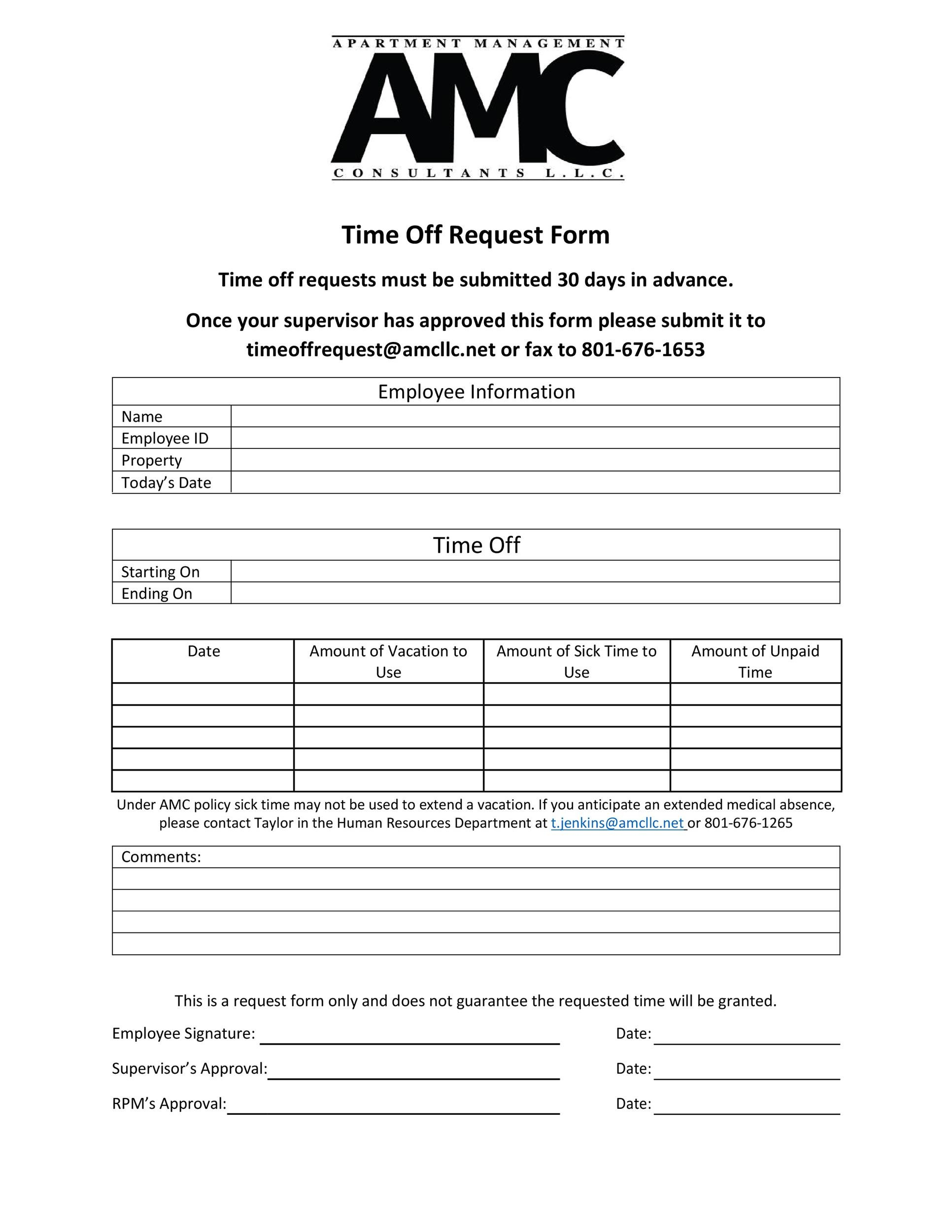 Free time off request form template 18