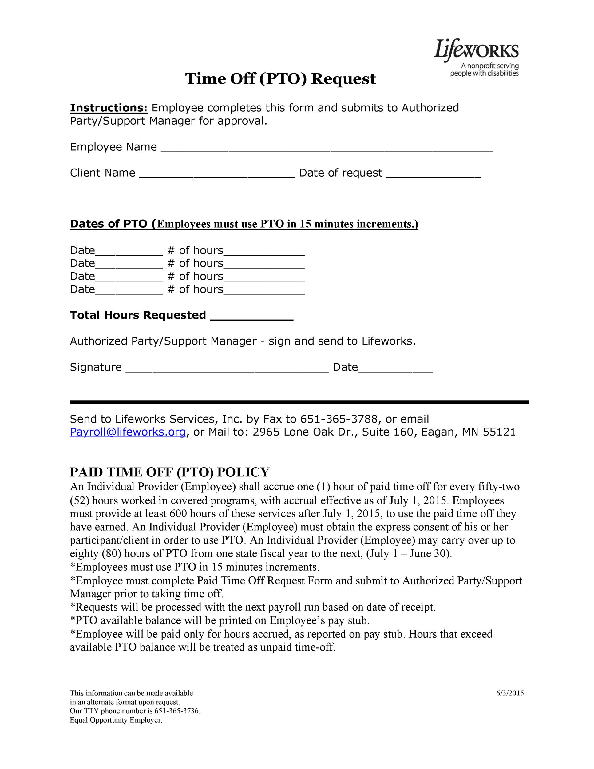 Free time off request form template 20