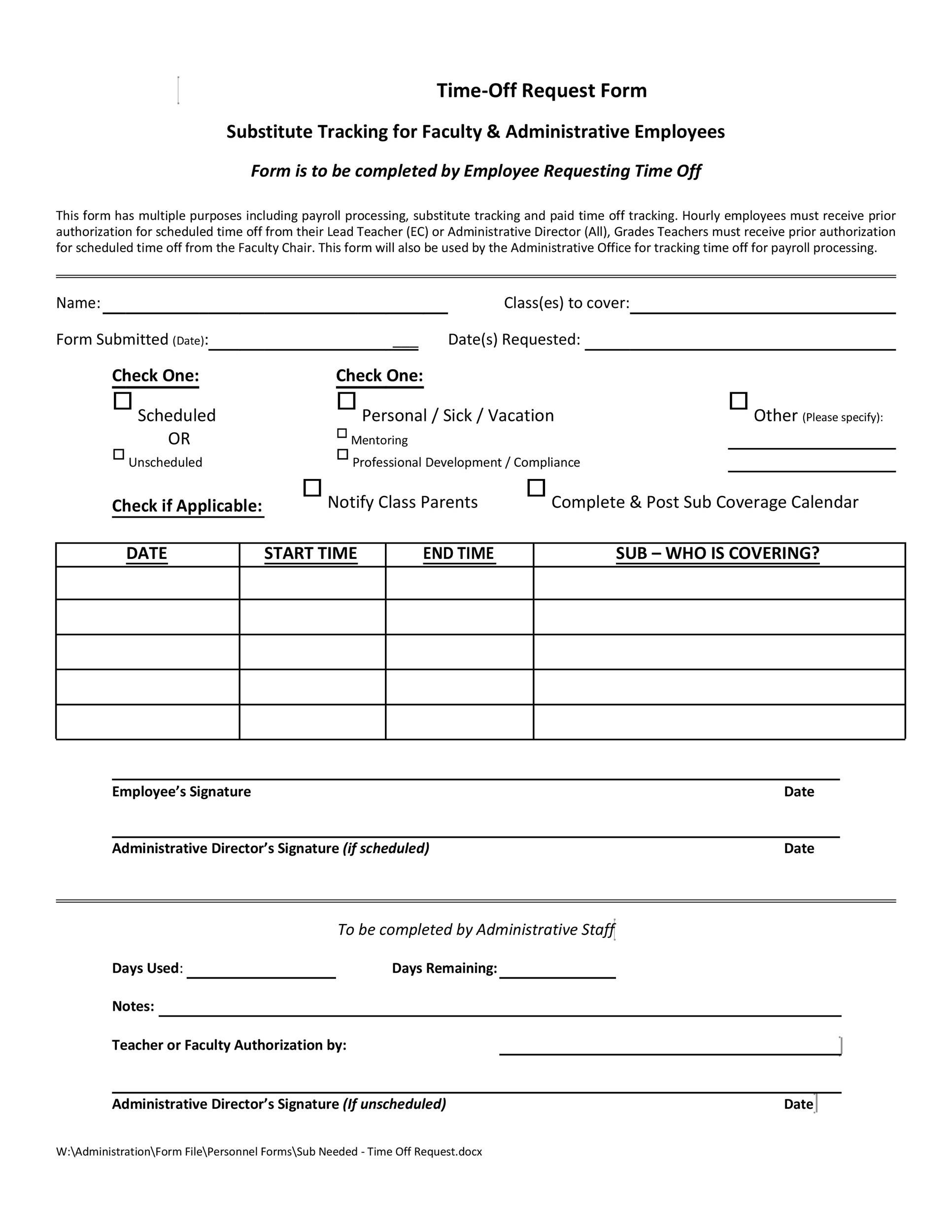 Free time off request form template 21