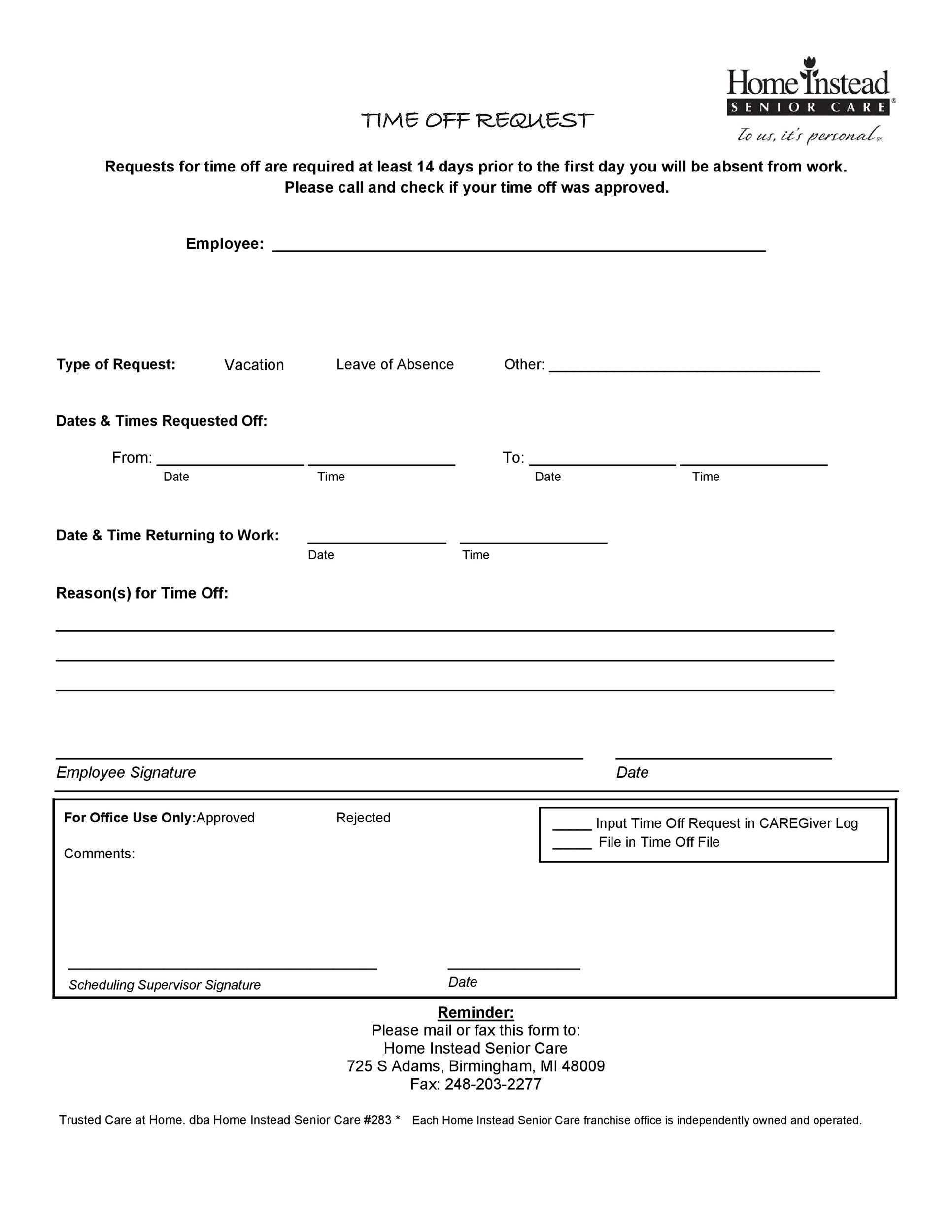 Free time off request form template 23