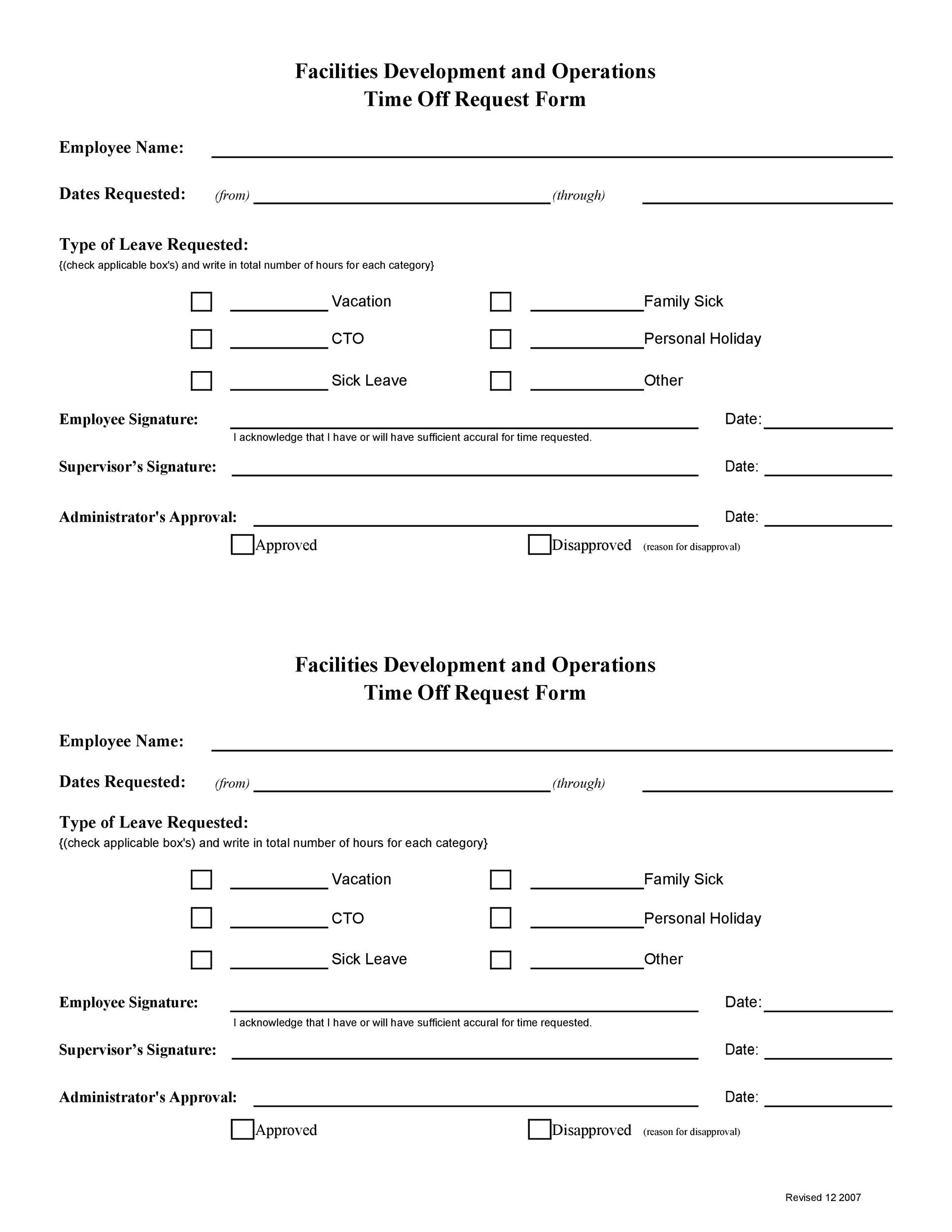 Free time off request form template 24