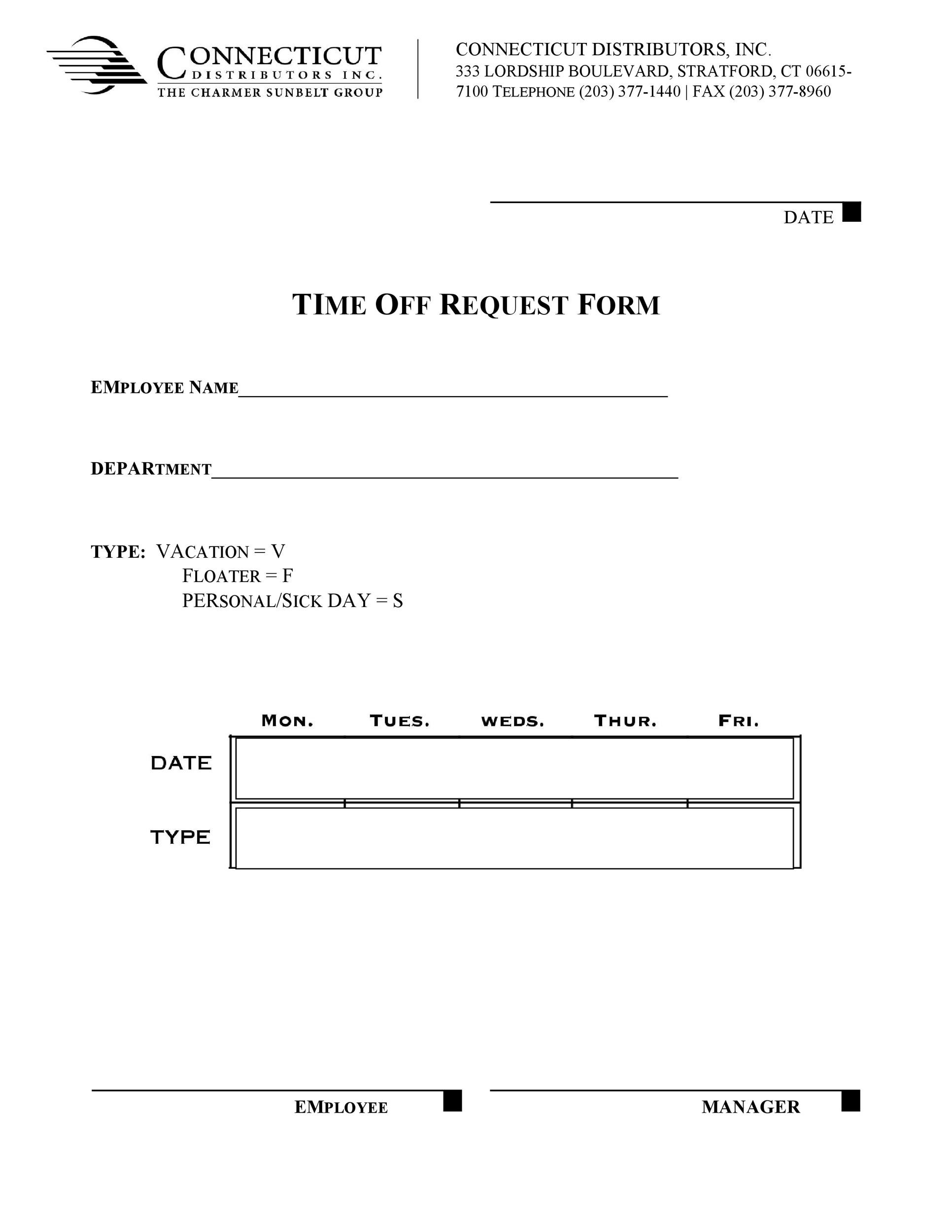 Free time off request form template 25