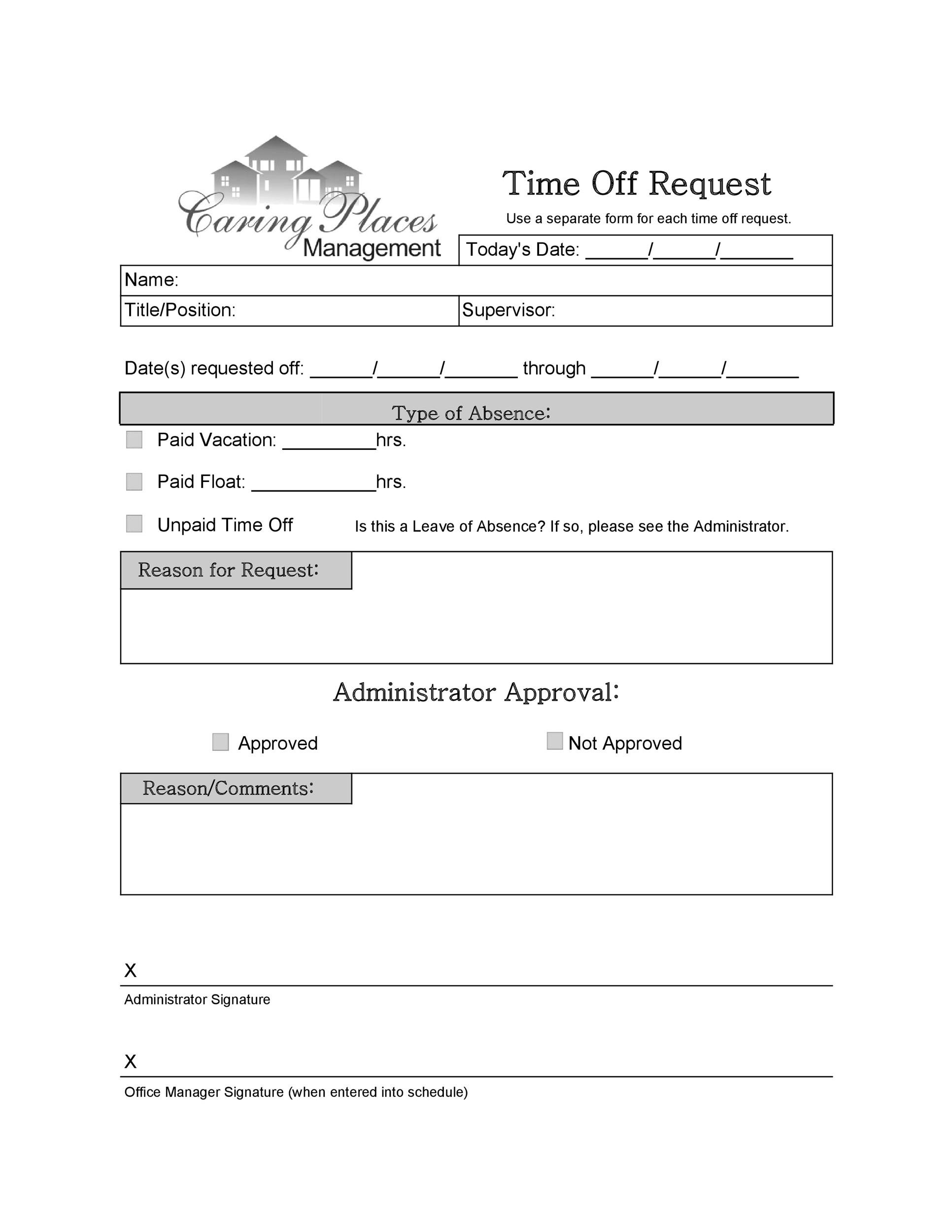 Free time off request form template 30