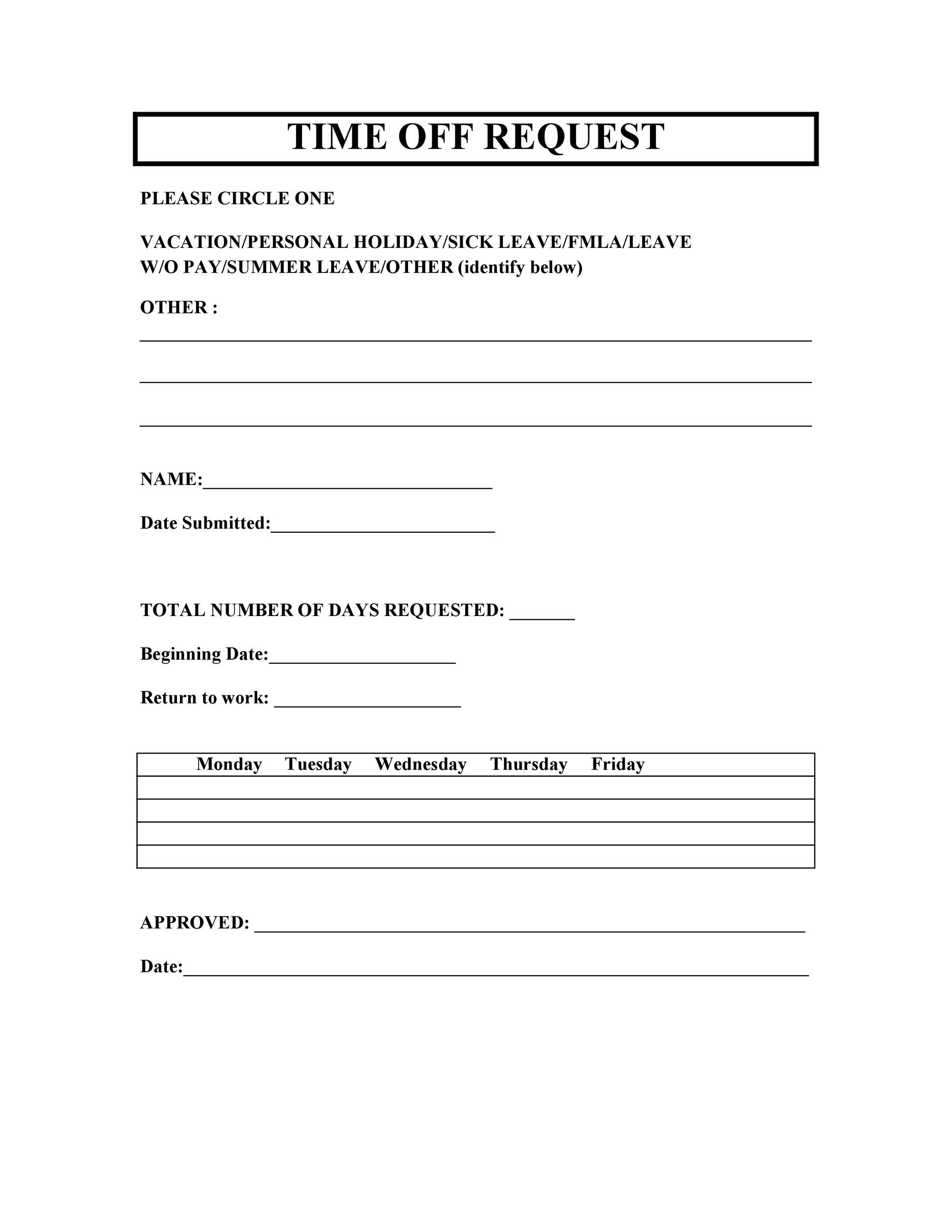 Free time off request form template 31
