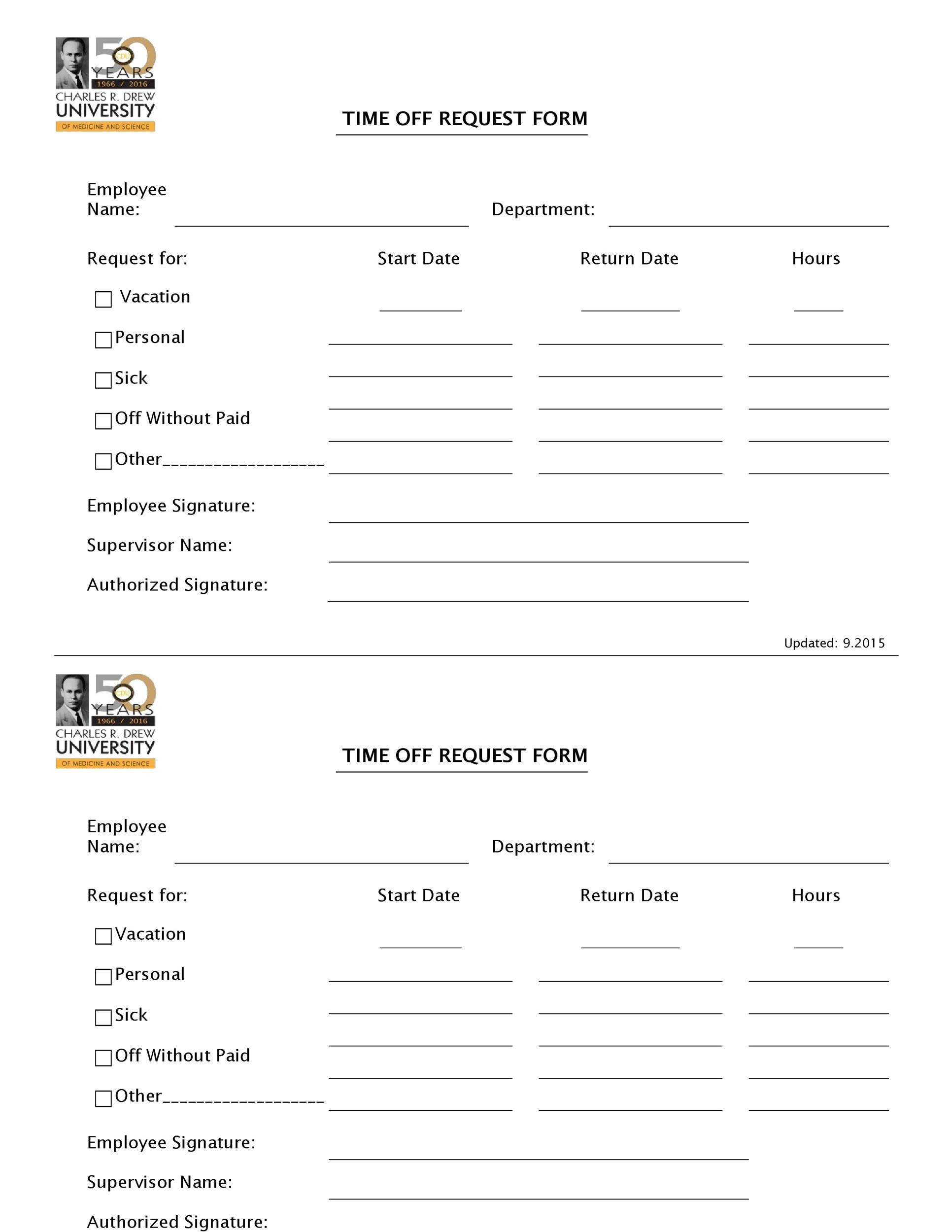 Free time off request form template 32