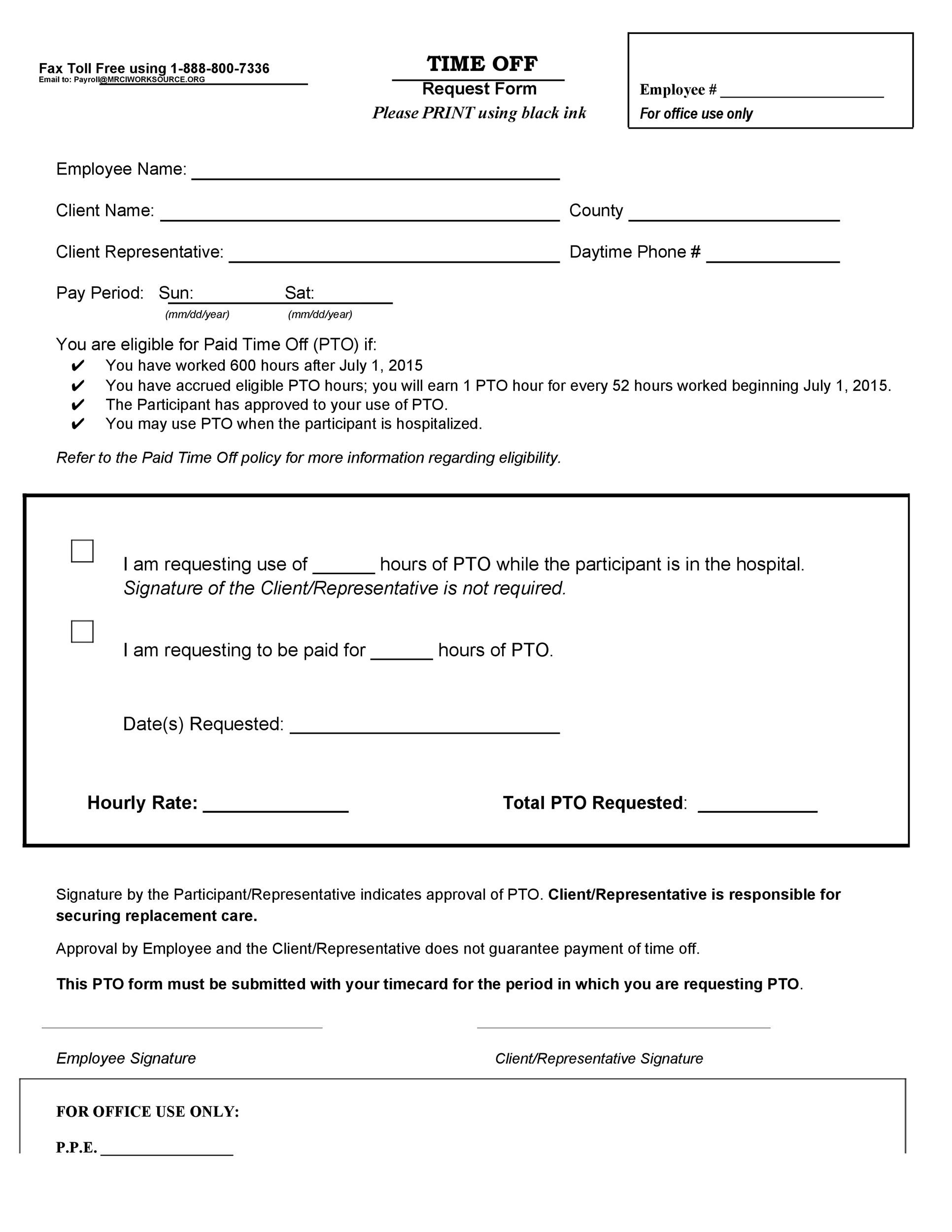 Free time off request form template 34