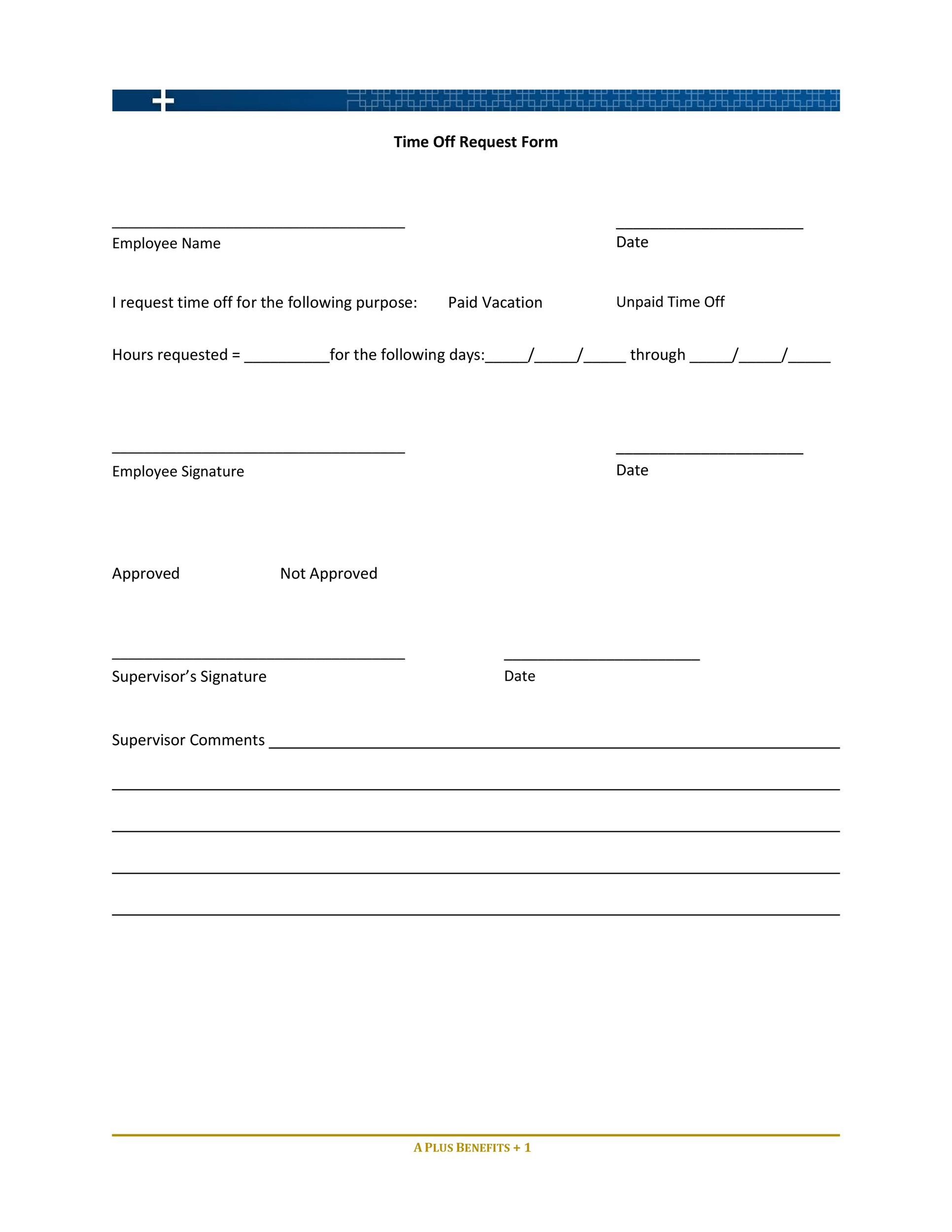 Free time off request form template 36